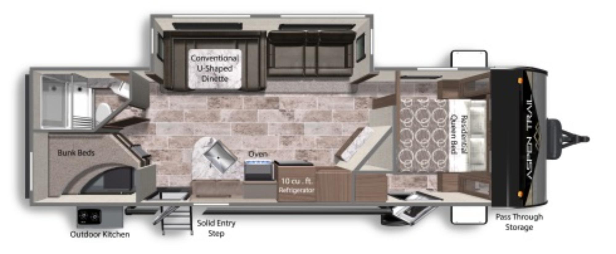 View Floor Plan for 2022 DUTCHMEN ASPEN TRAIL 2850BHS