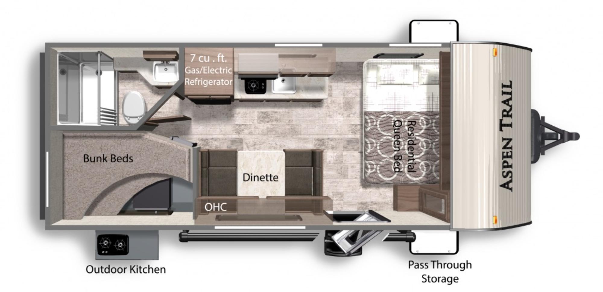 View Floor Plan for 2022 DUTCHMEN ASPEN TRAIL LE 1950BH