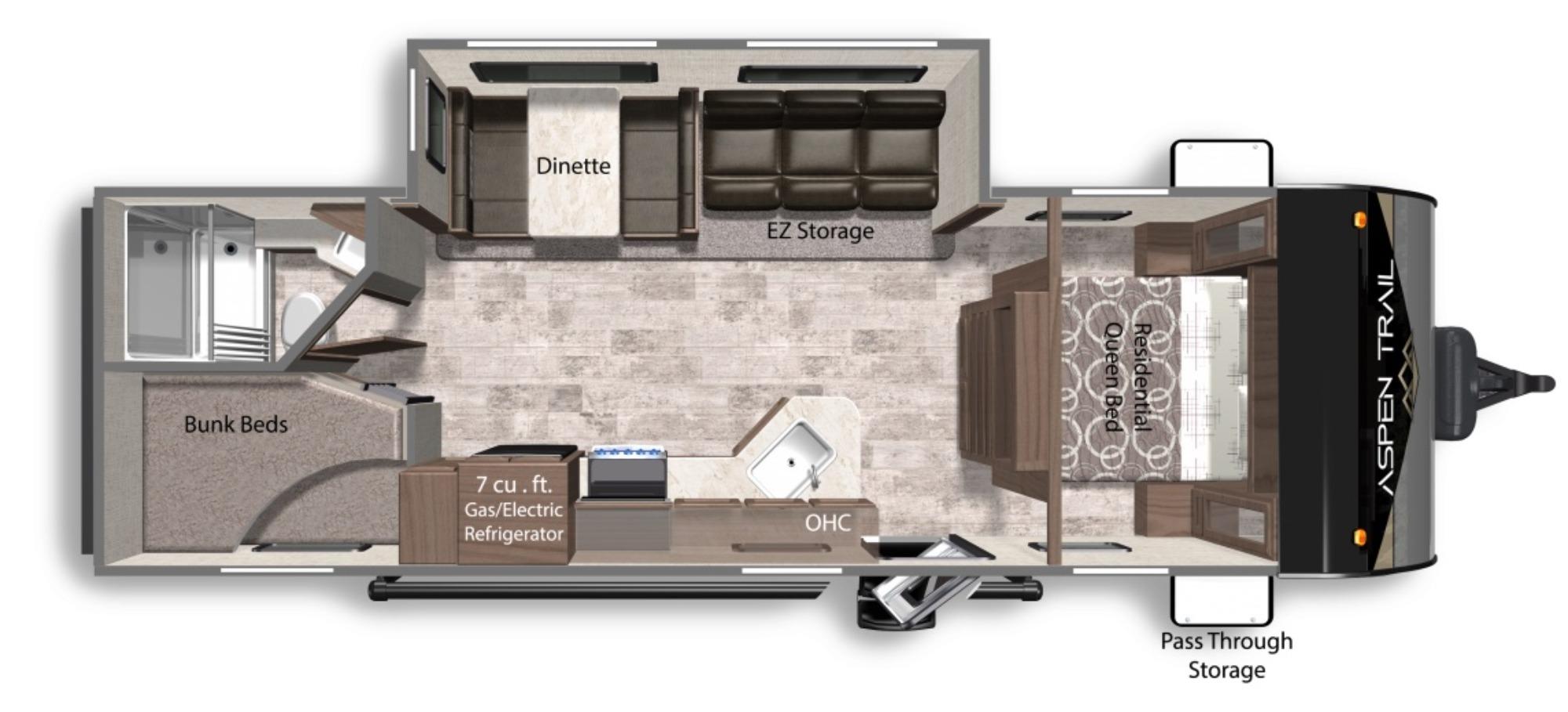 View Floor Plan for 2022 DUTCHMEN ASPEN TRAIL LE 26BH