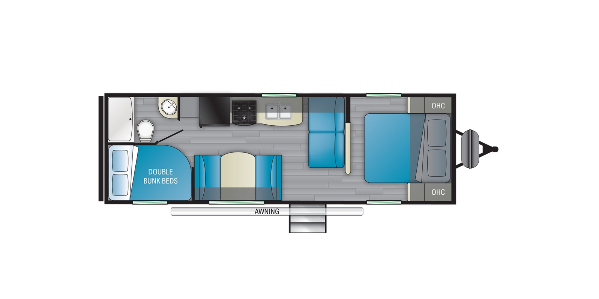 View Floor Plan for 2022 HEARTLAND PROWLER 250BH