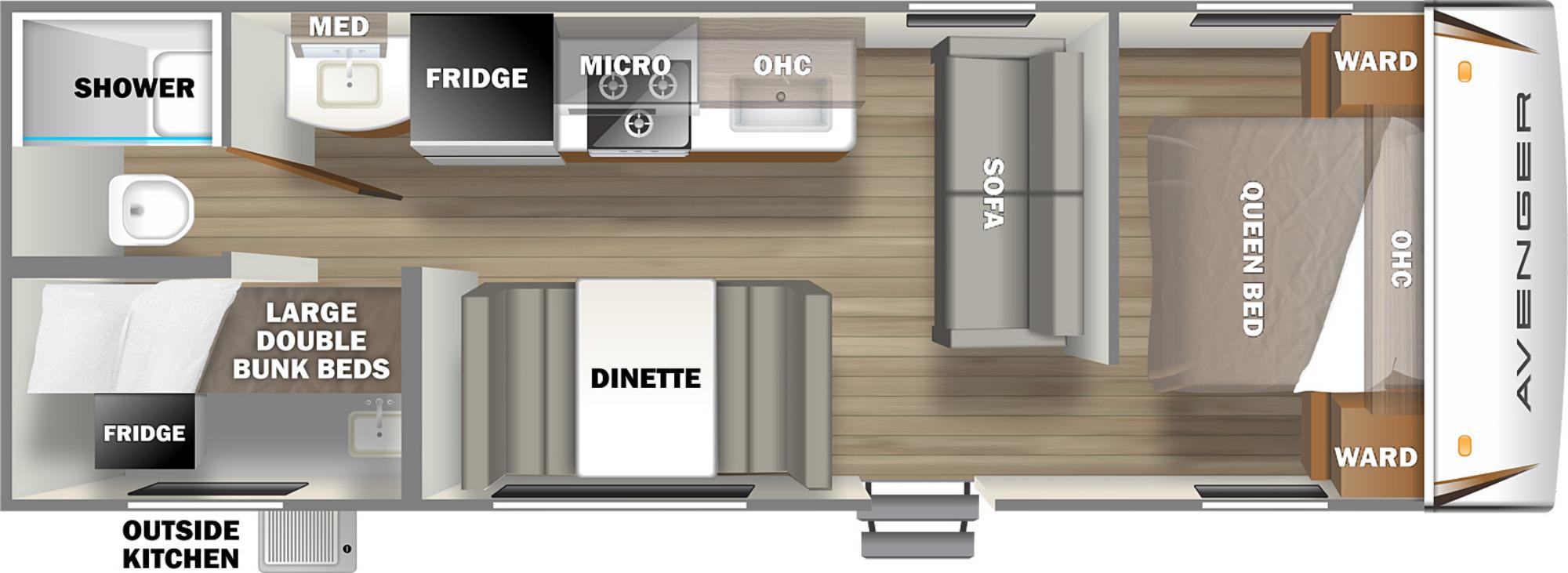 View Floor Plan for 2022 PRIME TIME AVENGER 26BK