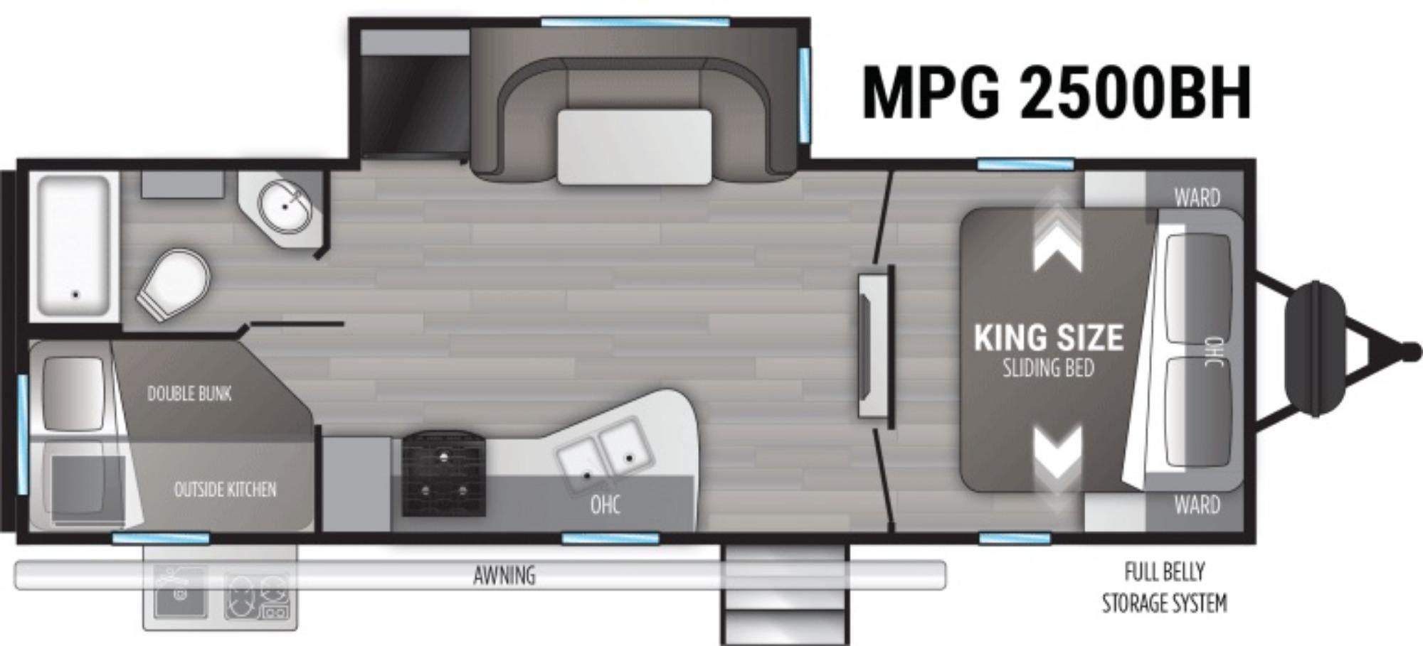 View Floor Plan for 2022 CRUISER RV MPG 2500BH
