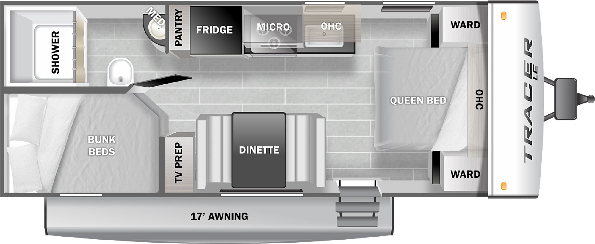 View Floor Plan for 2022 PRIME TIME TRACER 200BHSLE