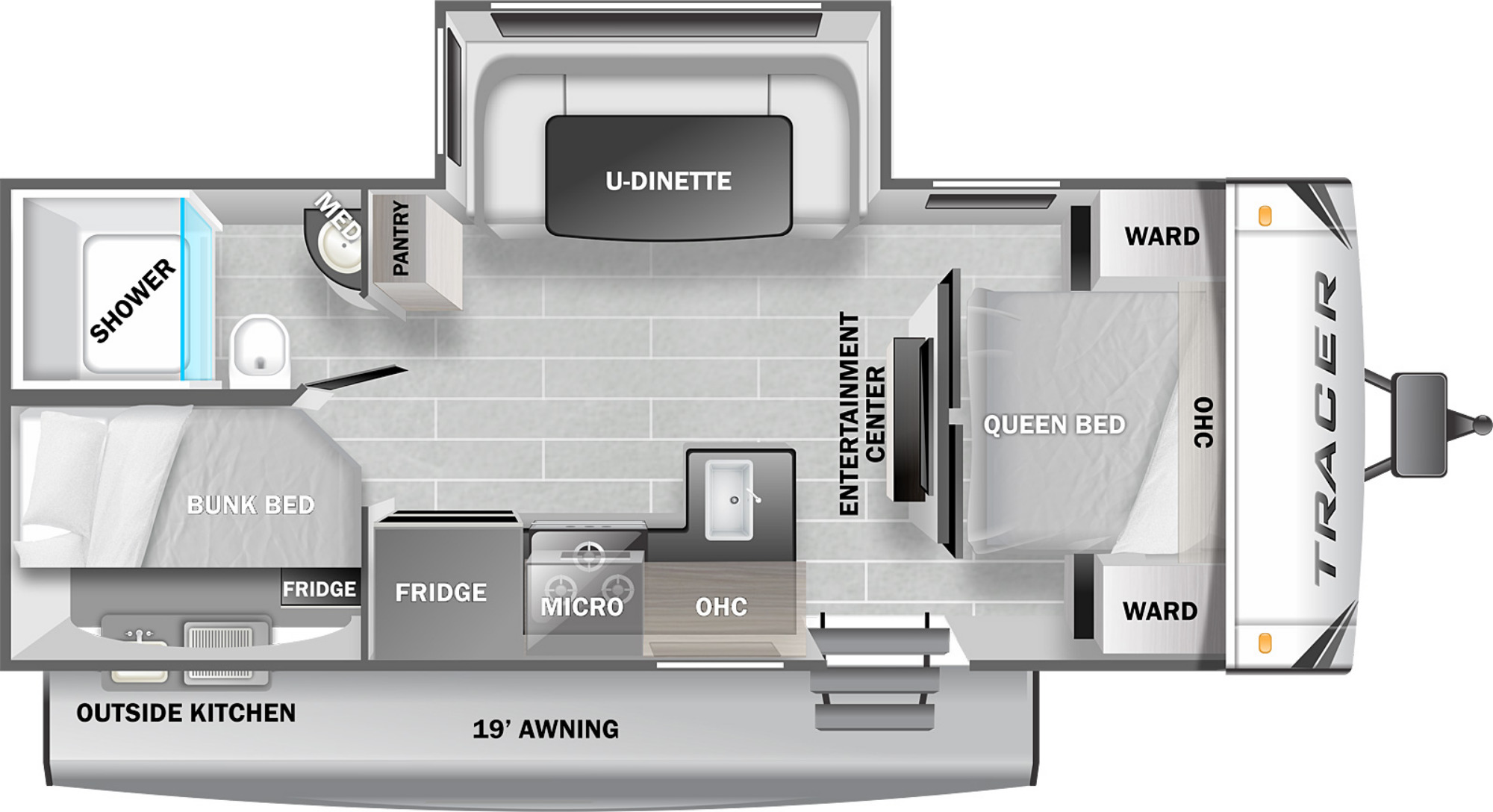 View Floor Plan for 2022 PRIME TIME TRACER 24DBS