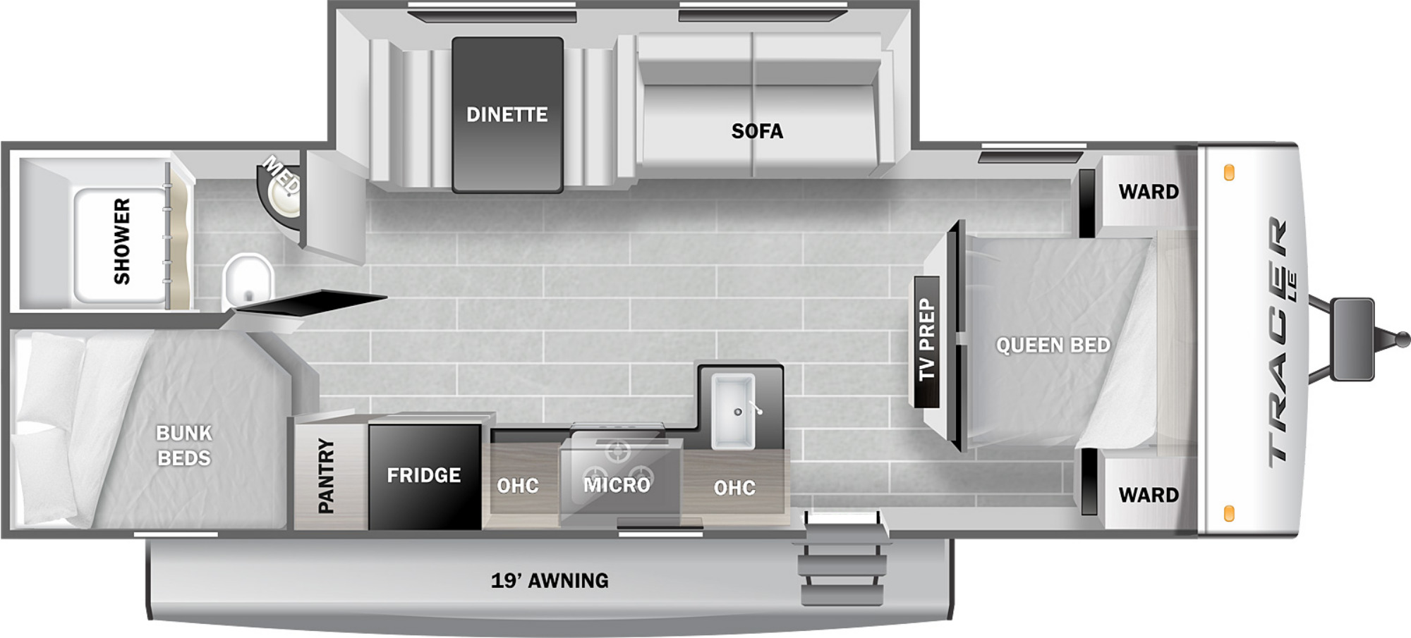 View Floor Plan for 2022 PRIME TIME TRACER 260BHSLE