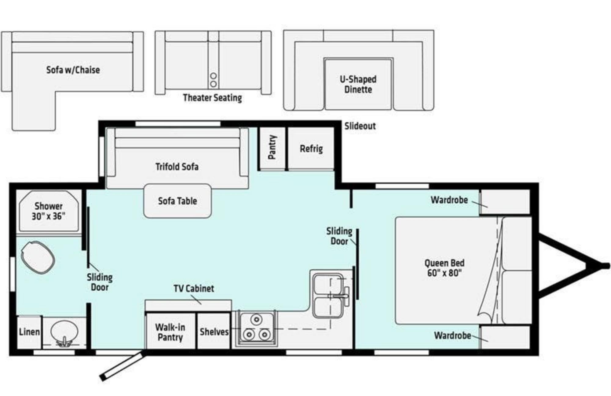 View Floor Plan for 2021 WINNEBAGO MINNIE 2202RBS