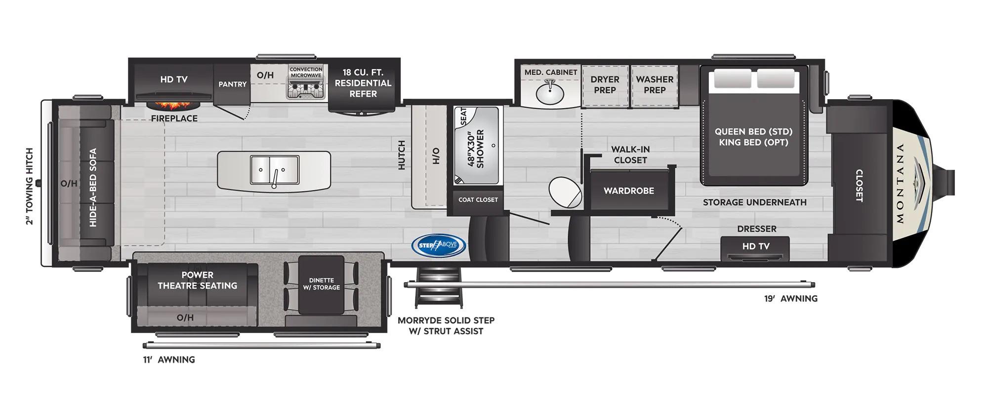 View Floor Plan for 2022 KEYSTONE MONTANA 3813MS