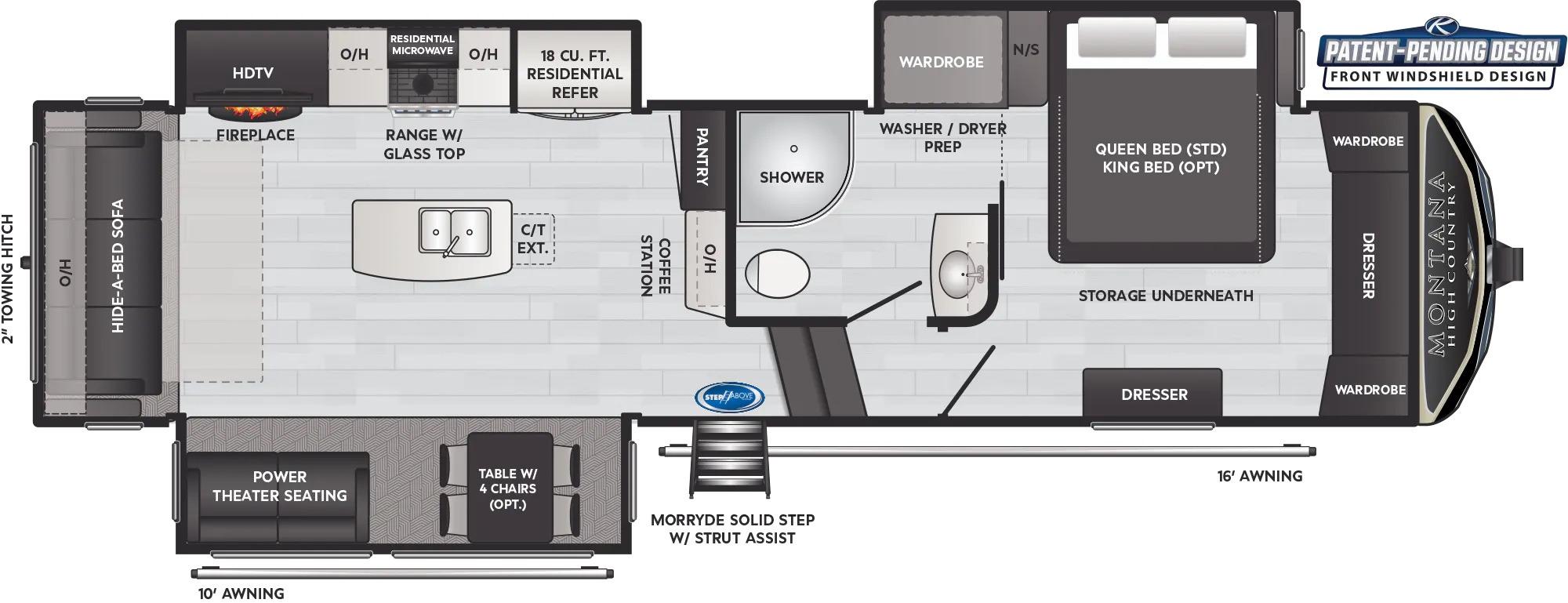 View Floor Plan for 2022 KEYSTONE MONTANA HIGH COUNTRY 295RL