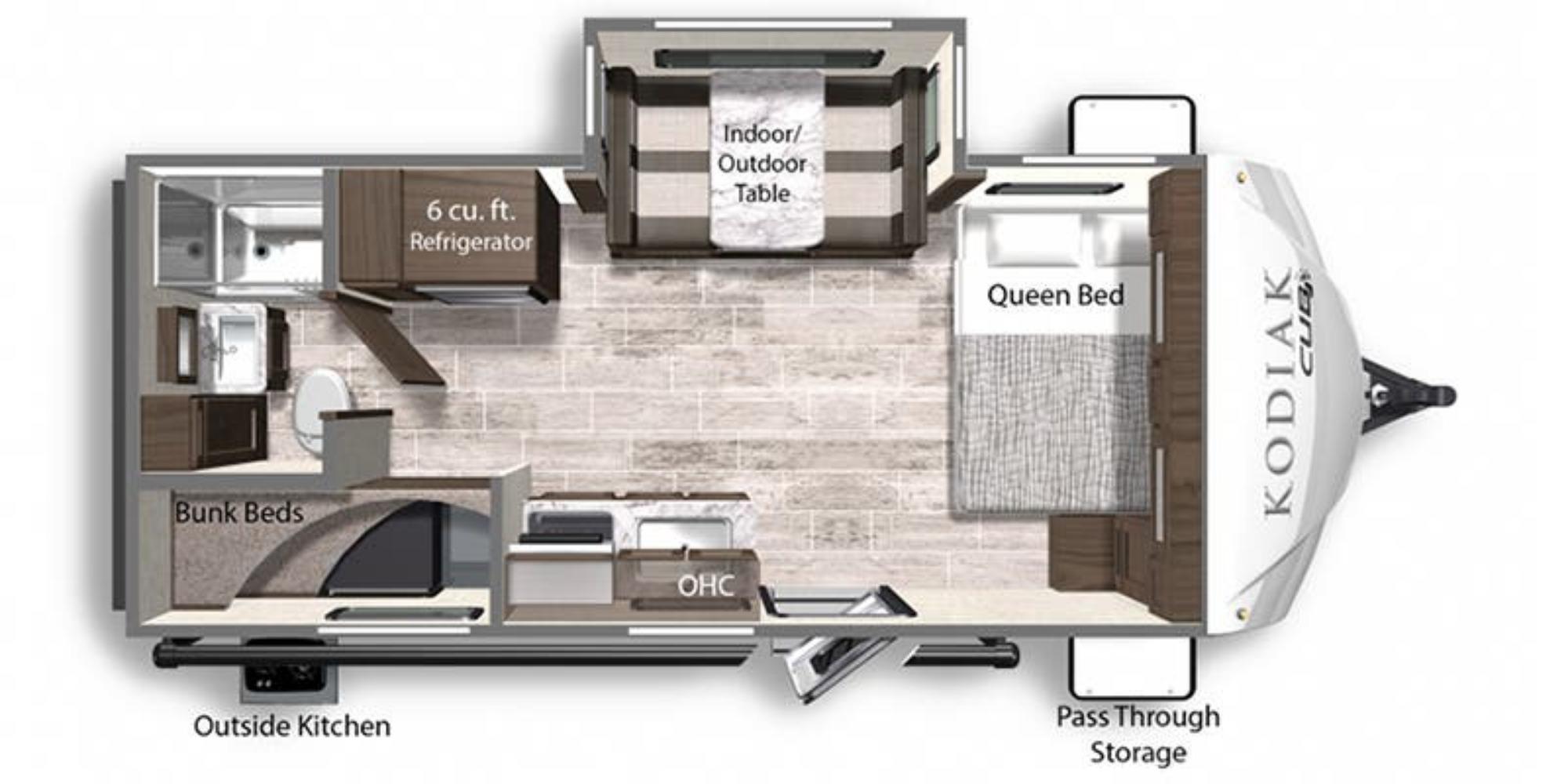 View Floor Plan for 2021 DUTCHMEN KODIAK CUB 196BH