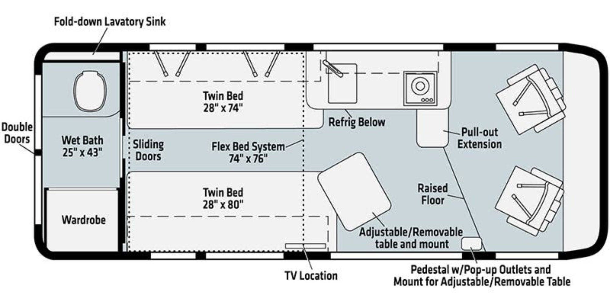 View Floor Plan for 2022 WINNEBAGO TRAVATO 59KL
