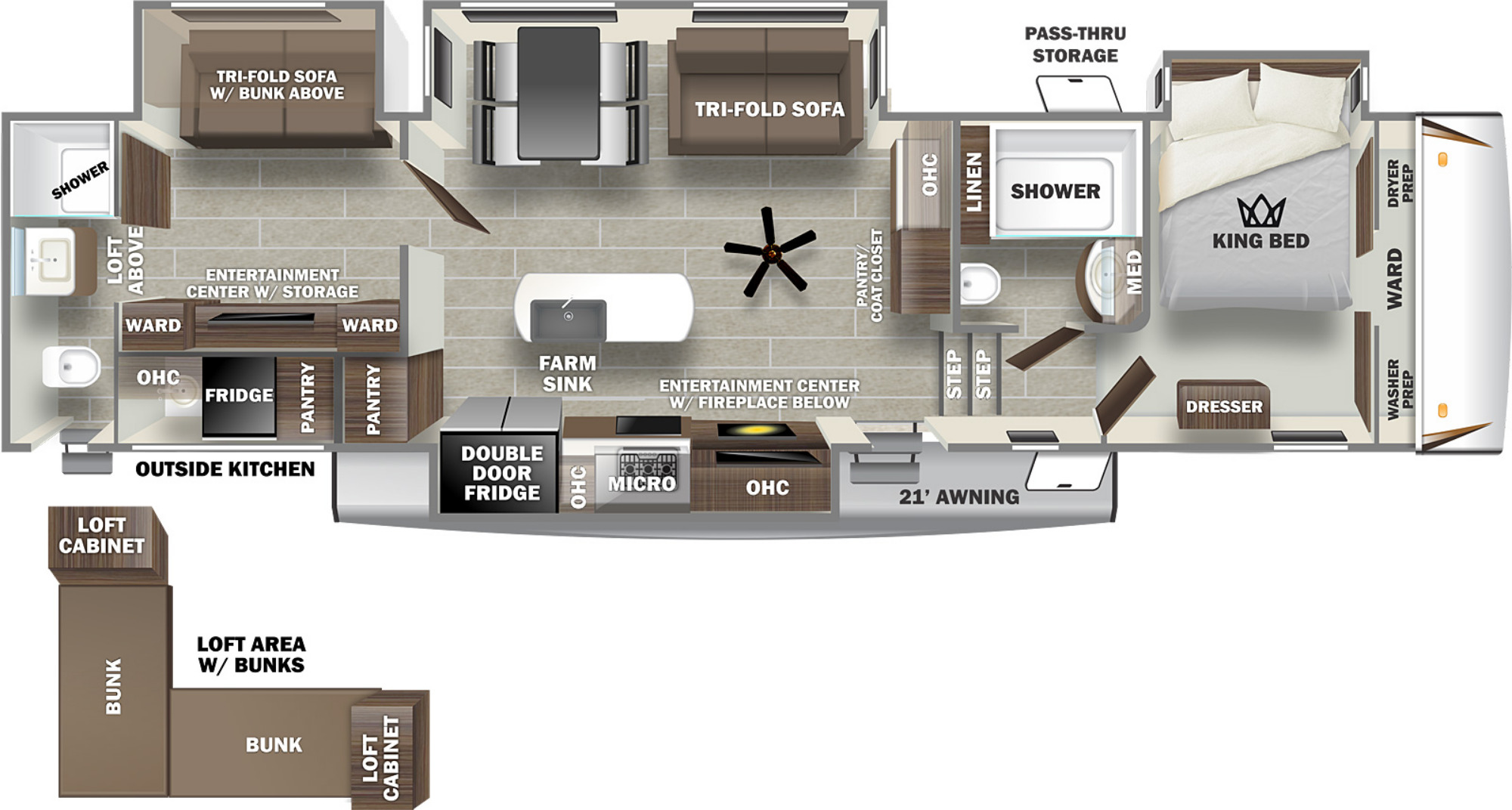 View Floor Plan for 2022 FOREST RIVER SABRE 38DBQ