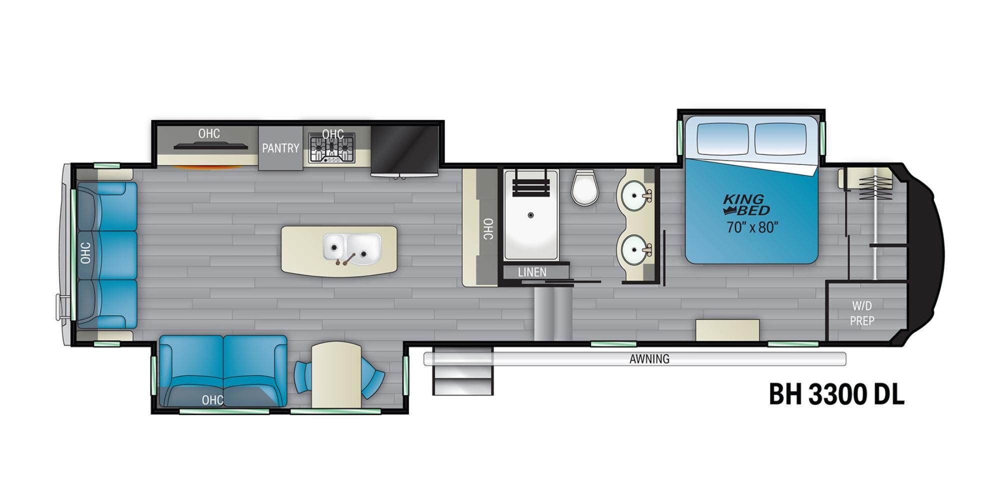 View Floor Plan for 2022 HEARTLAND BIGHORN 3300DL