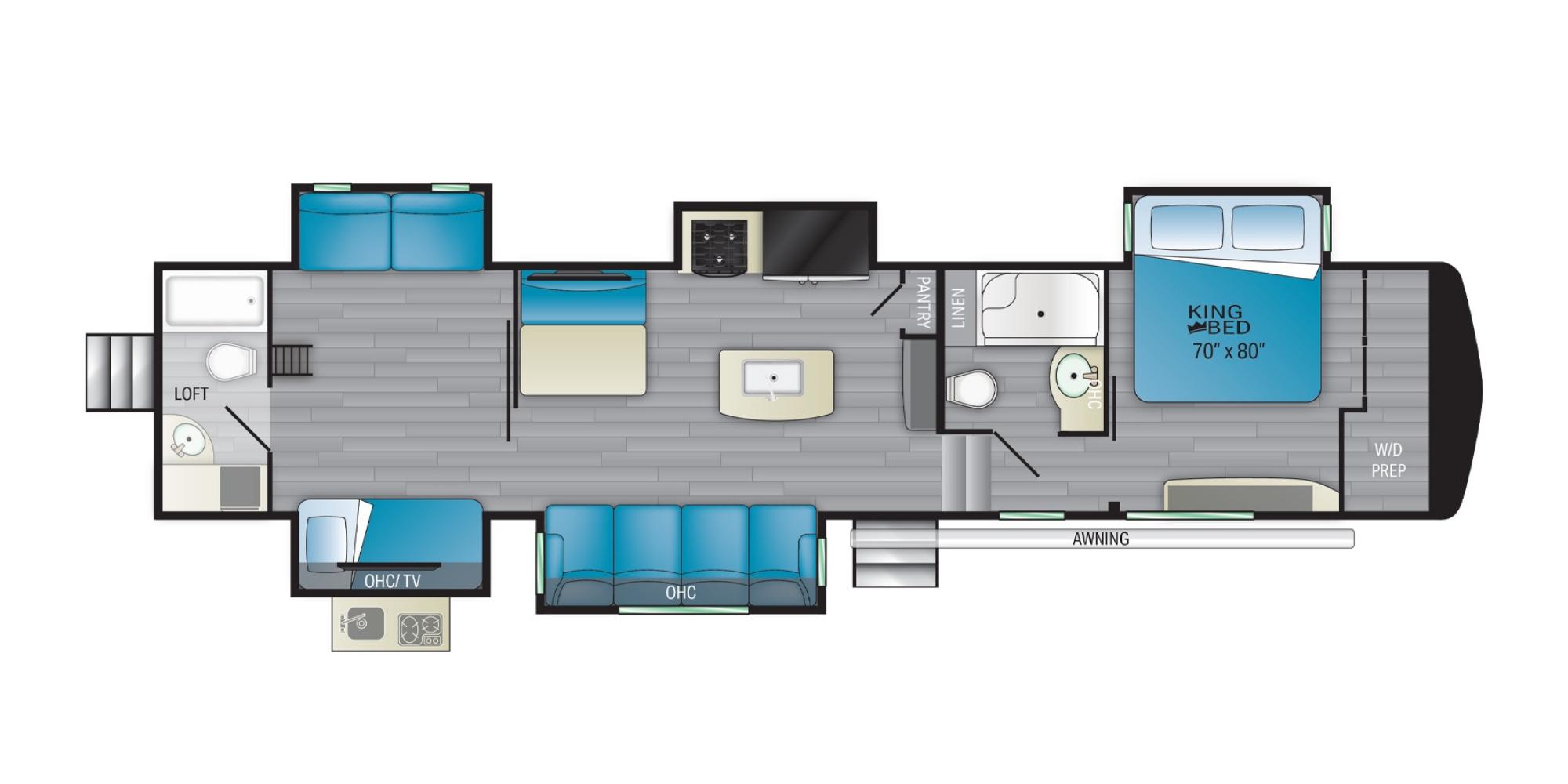View Floor Plan for 2022 HEARTLAND BIGHORN TRAVELER 37DB