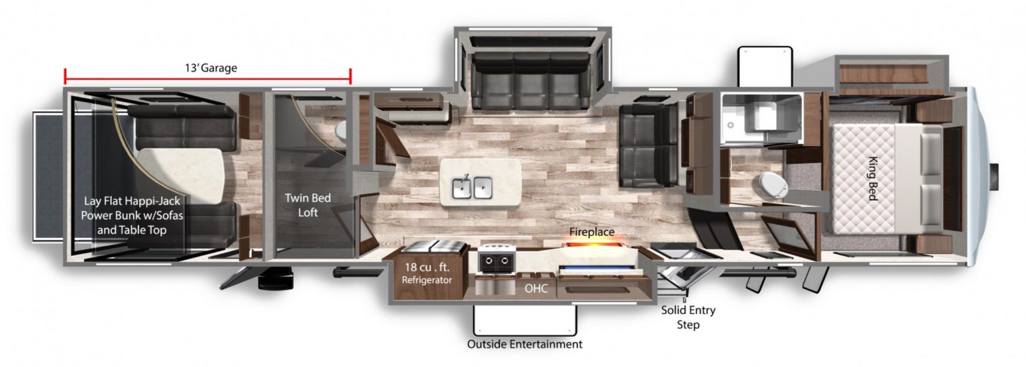 View Floor Plan for 2021 DUTCHMEN VOLTAGE 4175