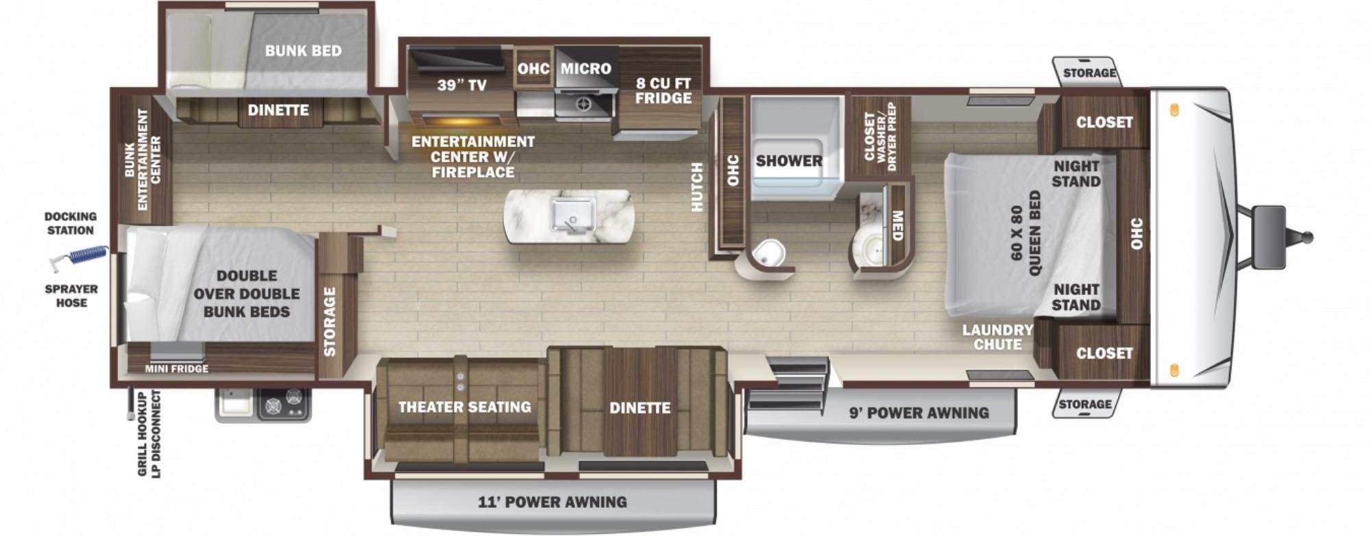 View Floor Plan for 2021 HIGHLAND RIDGE OPEN RANGE LIGHT 312BHS