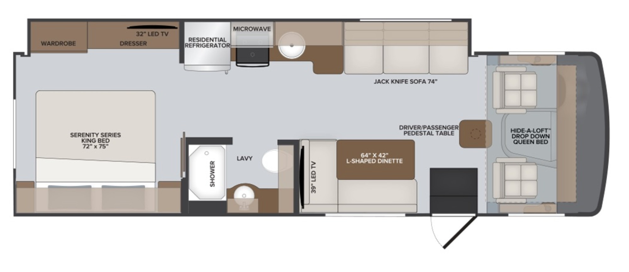 View Floor Plan for 2022 HOLIDAY RAMBLER ADMIRAL 29M