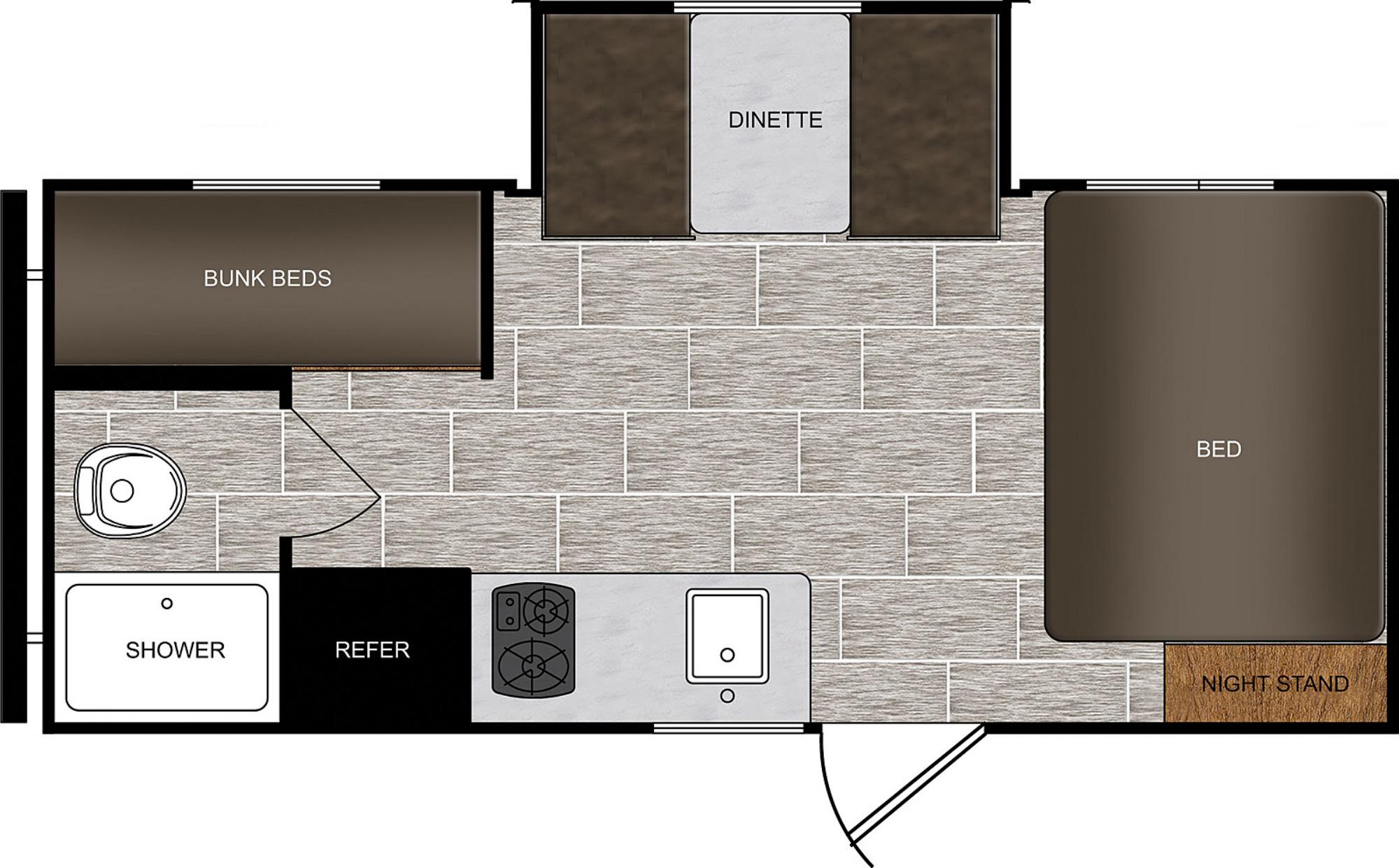 View Floor Plan for 2021 PRIME TIME AVENGER 17BHS