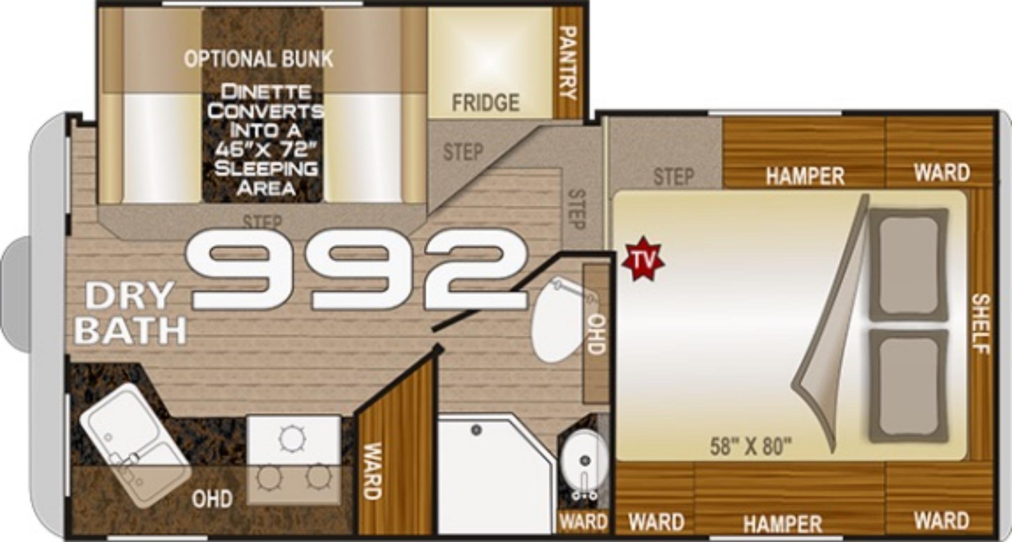 View Floor Plan for 2021 NORTHWOOD ARCTIC FOX CAMPER 992