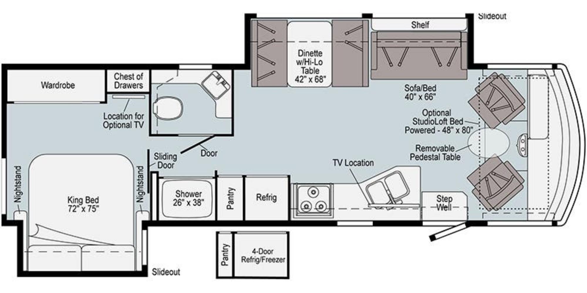 View Floor Plan for 2021 WINNEBAGO VISTA 32M