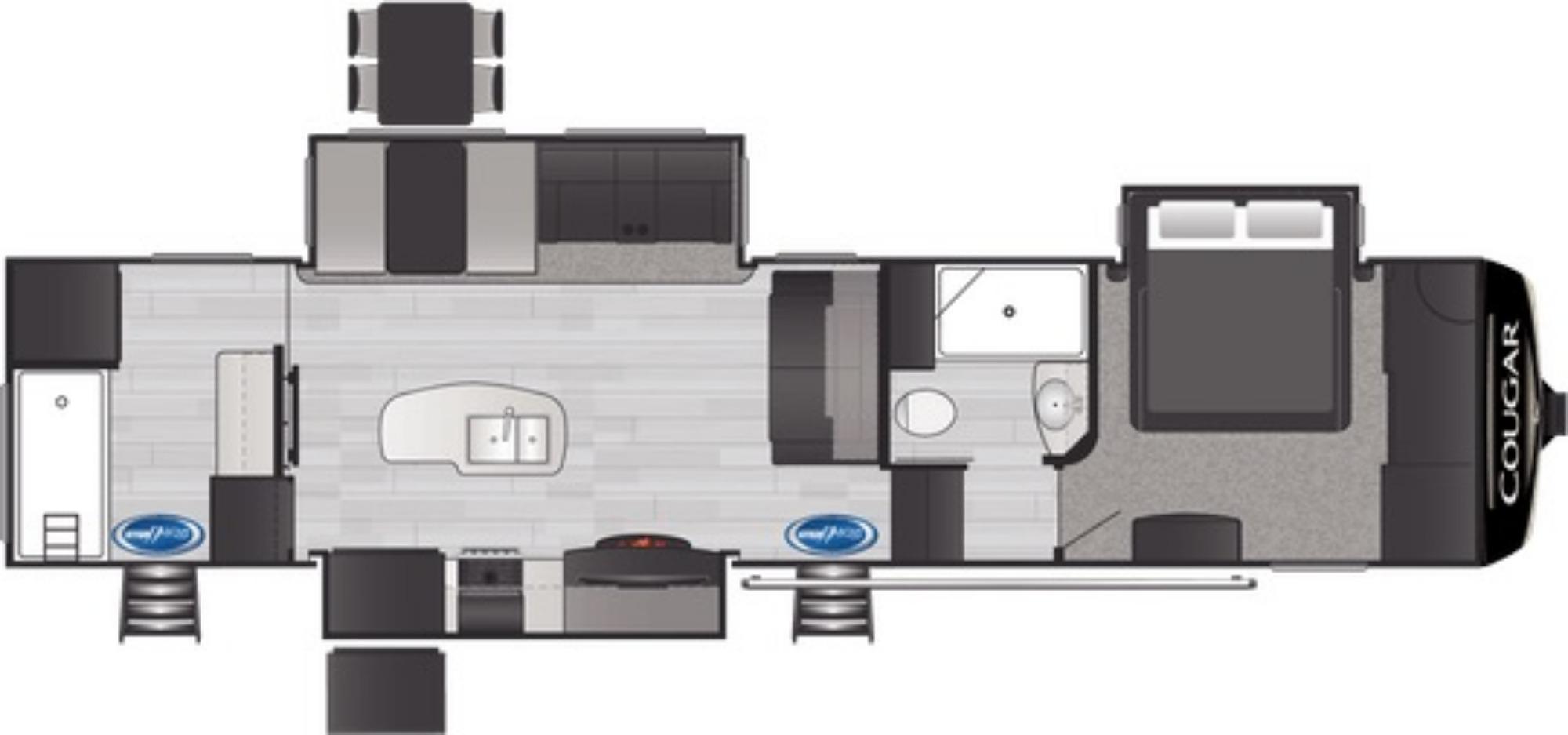 View Floor Plan for 2021 KEYSTONE COUGAR 357UMR