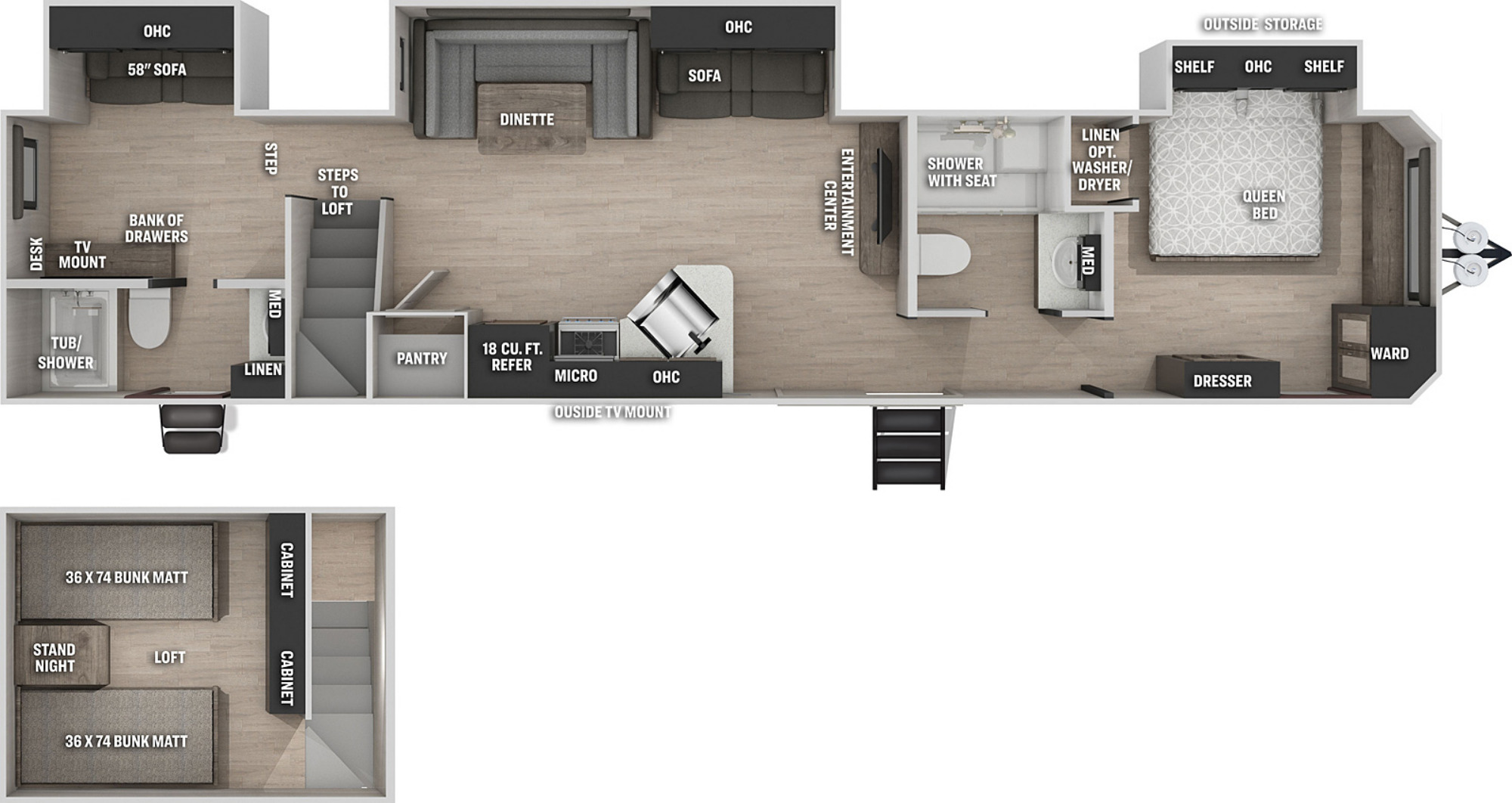 View Floor Plan for 2021 FOREST RIVER CHEROKEE 39CA