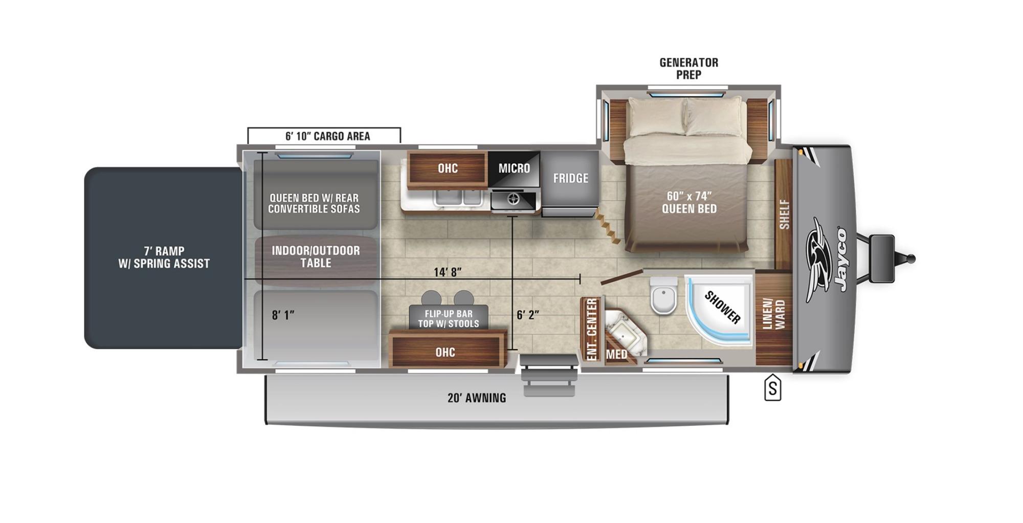 View Floor Plan for 2021 JAYCO JAY FLIGHT OCTANE 255