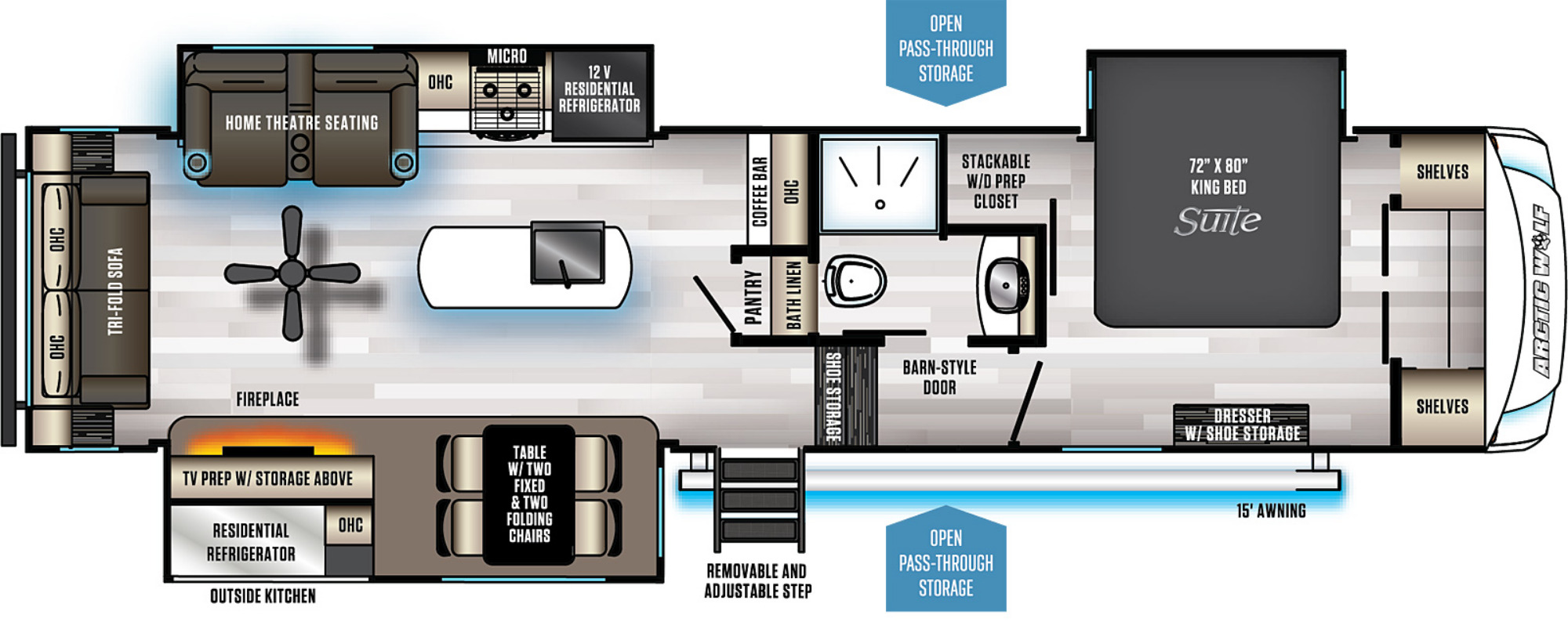 View Floor Plan for 2021 FOREST RIVER ARCTIC WOLF 3550SUITE