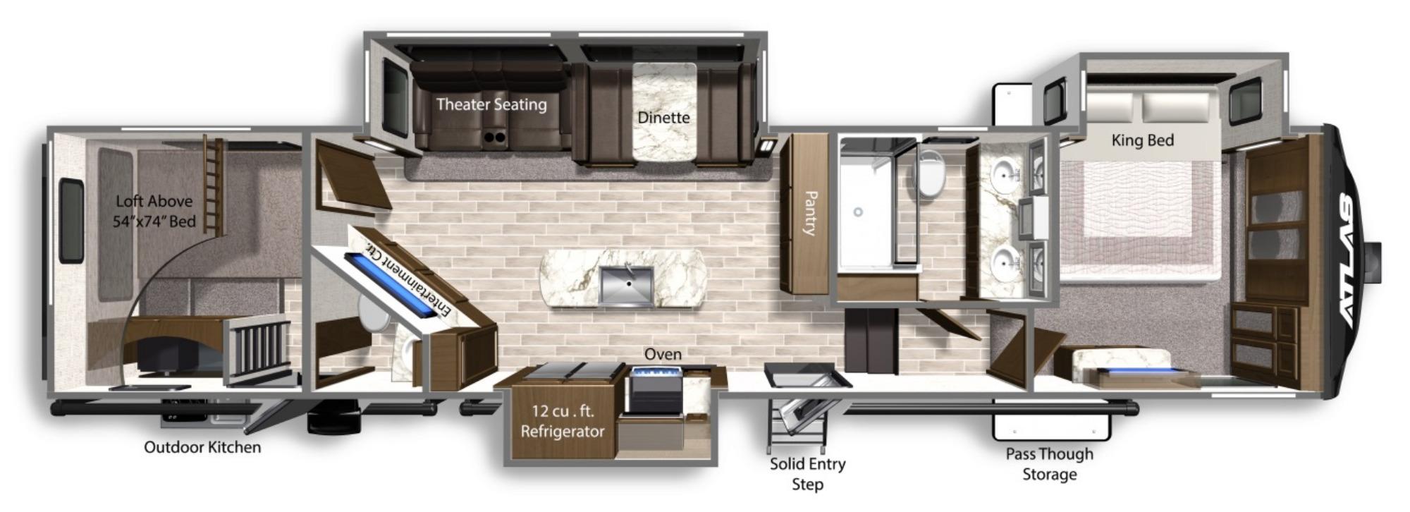 View Floor Plan for 2021 DUTCHMEN ATLAS 3602LFKB