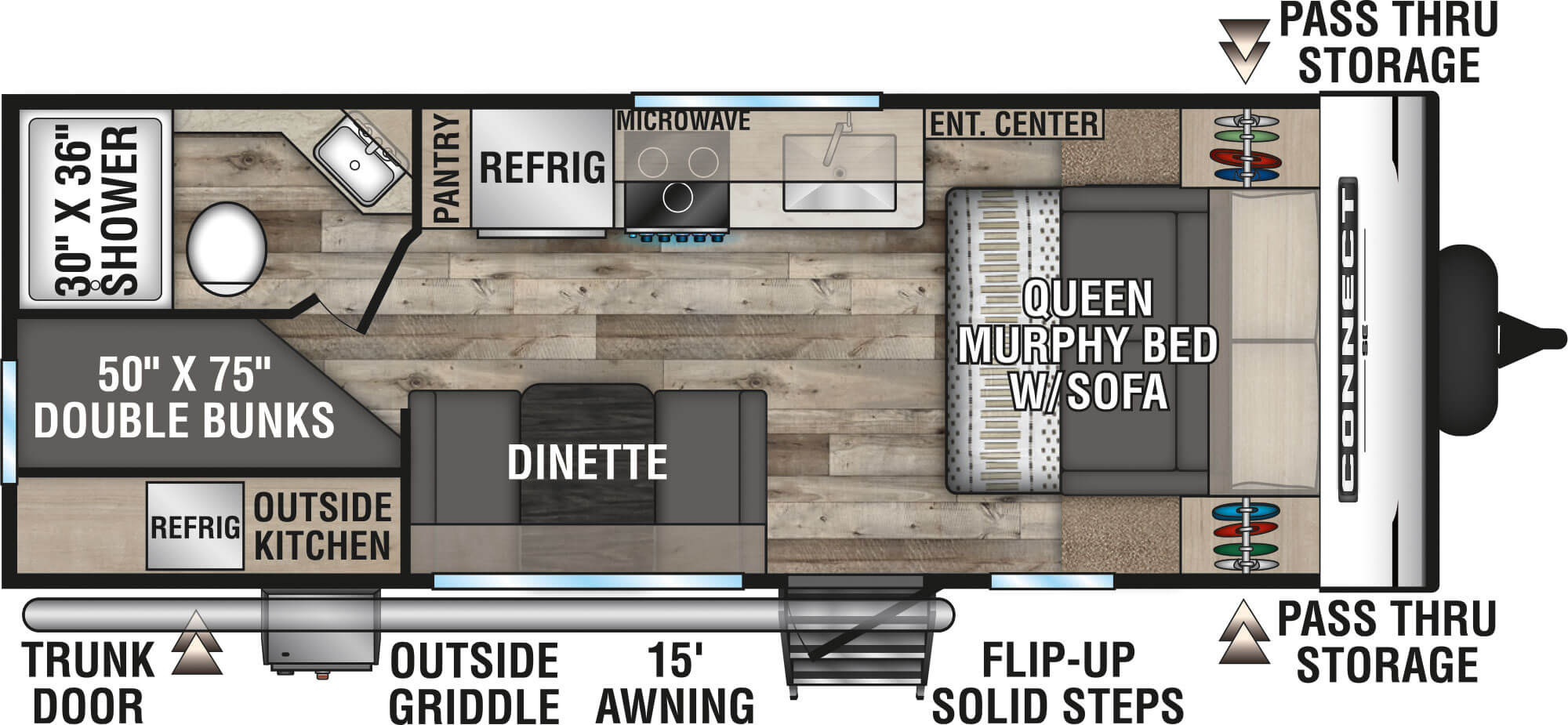 View Floor Plan for 2021 K-Z RV CONNECT SE 210MBKSE
