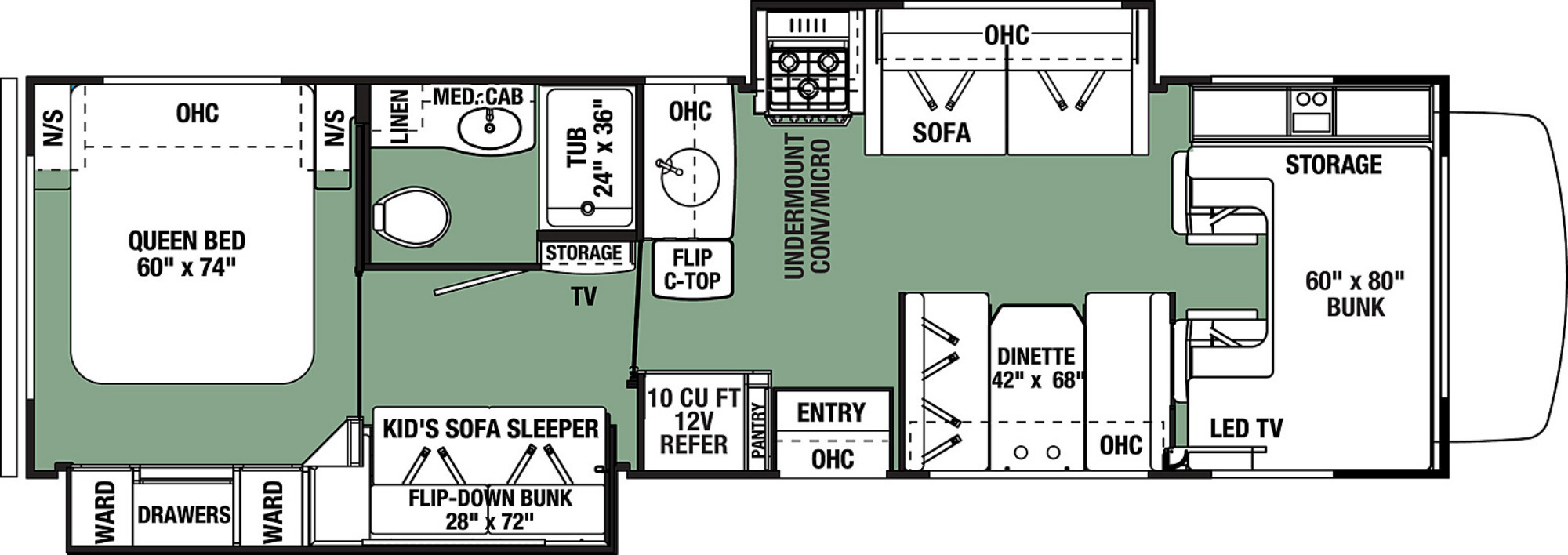 View Floor Plan for 2022 FOREST RIVER FORESTER LE 3251DSF