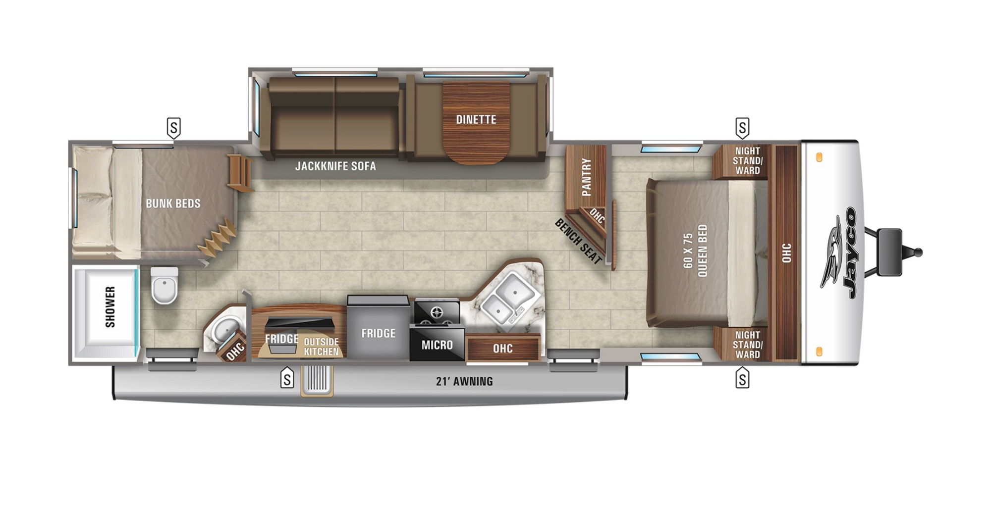 View Floor Plan for 2022 JAYCO JAY FEATHER 27BHB