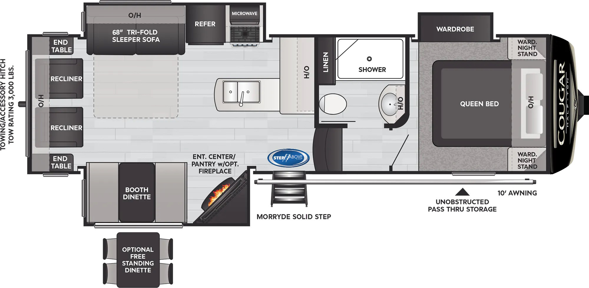 View Floor Plan for 2022 KEYSTONE COUGAR 27SGS