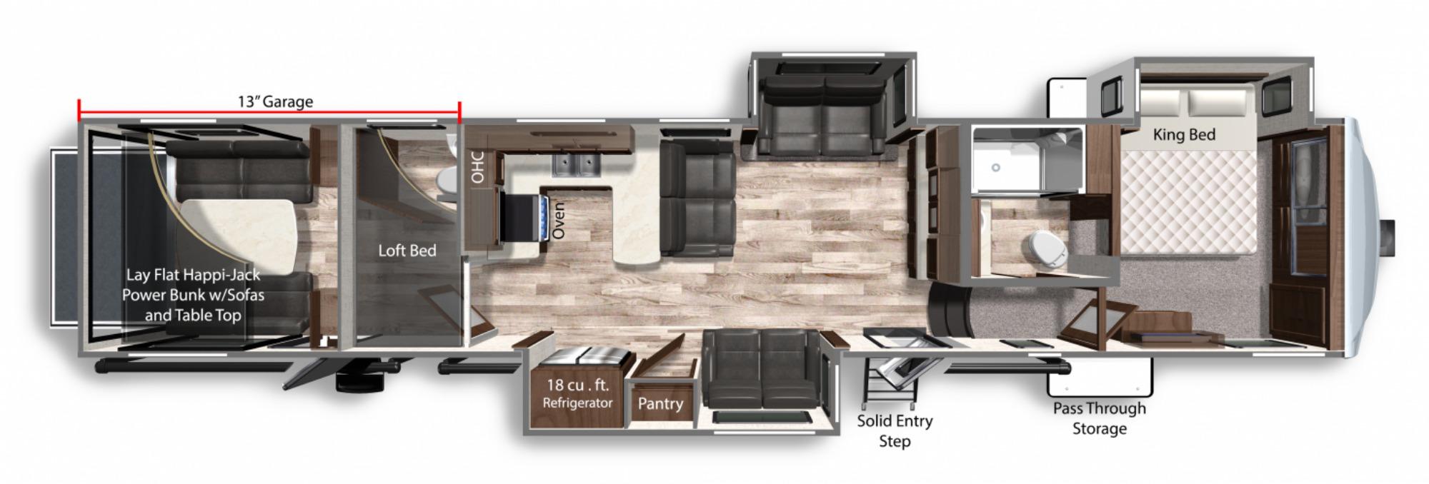 View Floor Plan for 2021 DUTCHMEN VOLTAGE 4225