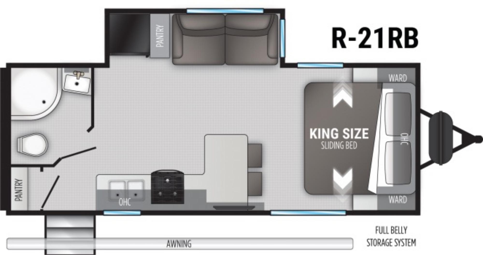View Floor Plan for 2021 CRUISER RV RADIANCE 21RB