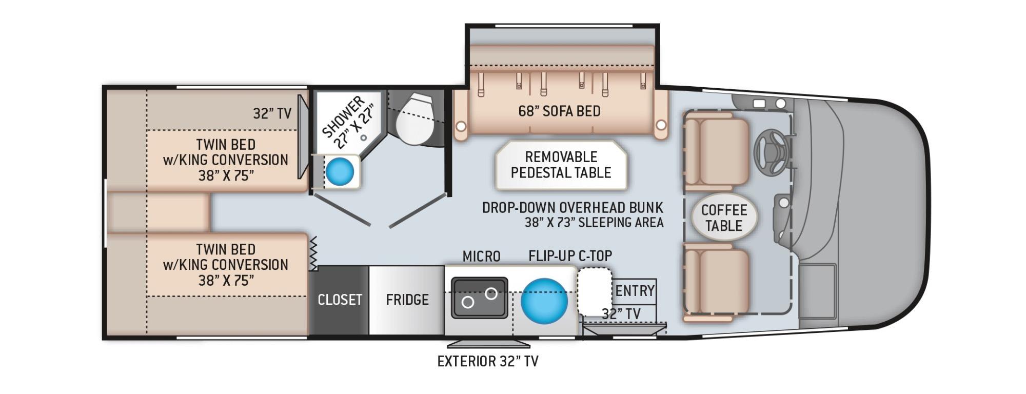 View Floor Plan for 2022 THOR VEGAS 24.1