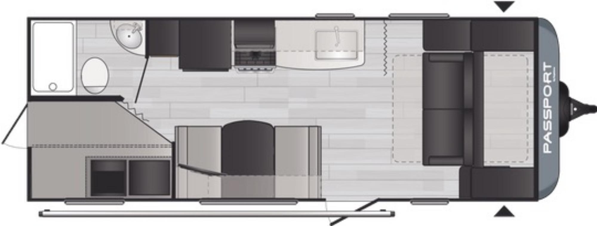 View Floor Plan for 2021 KEYSTONE PASSPORT 219BHWE