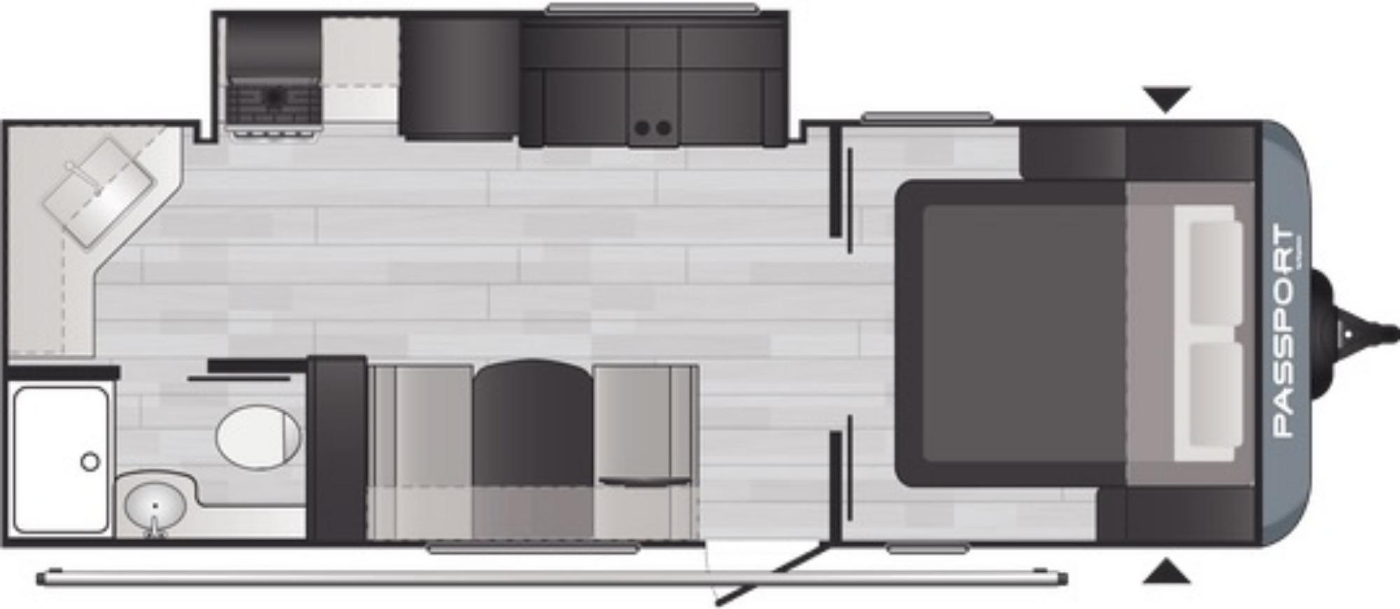 View Floor Plan for 2021 KEYSTONE PASSPORT 229RKWE