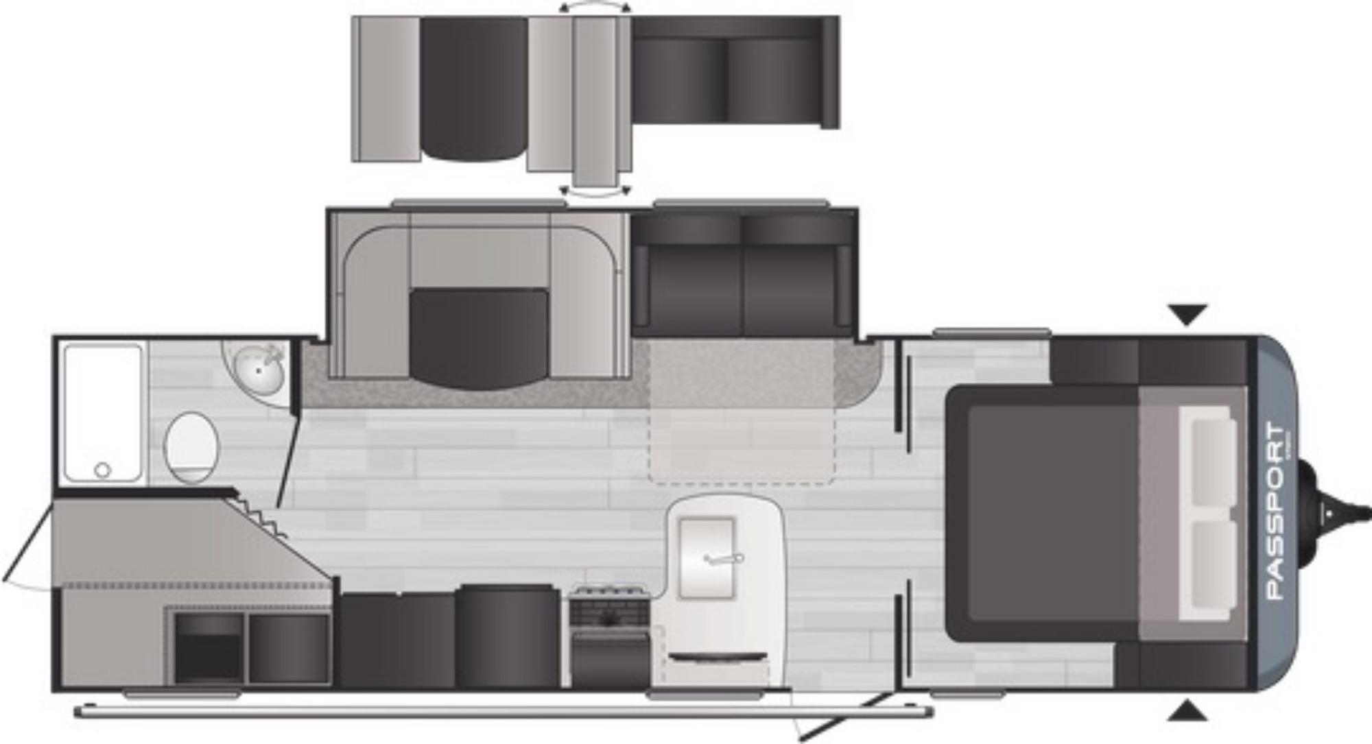 View Floor Plan for 2021 KEYSTONE PASSPORT 268BHWE