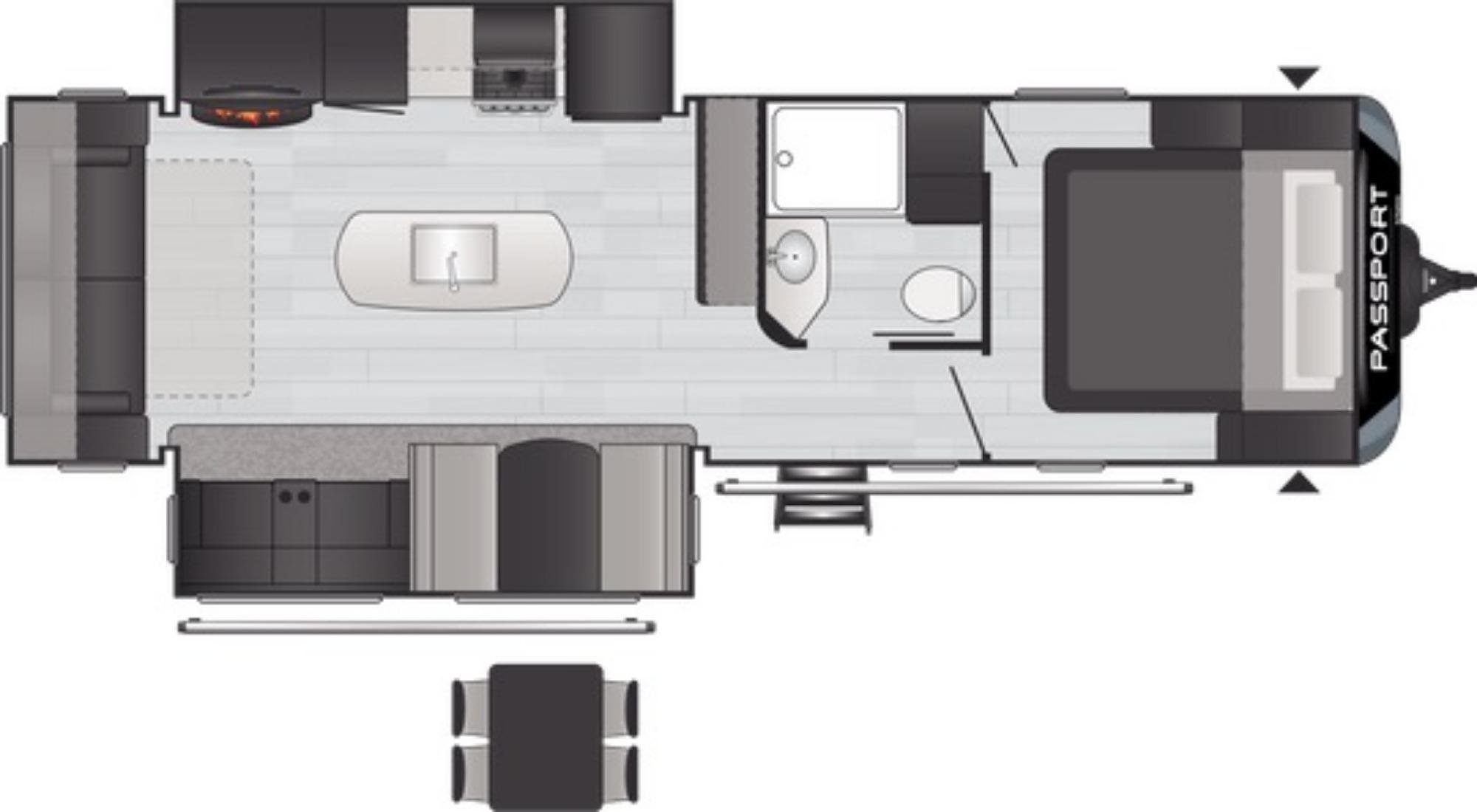 View Floor Plan for 2021 KEYSTONE PASSPORT 2870RLWE