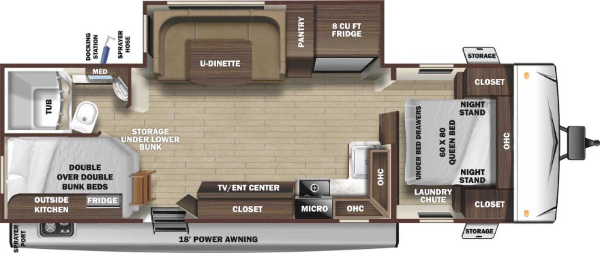View Floor Plan for 2021 HIGHLAND RIDGE MESA RIDGE S-LITE 241BH