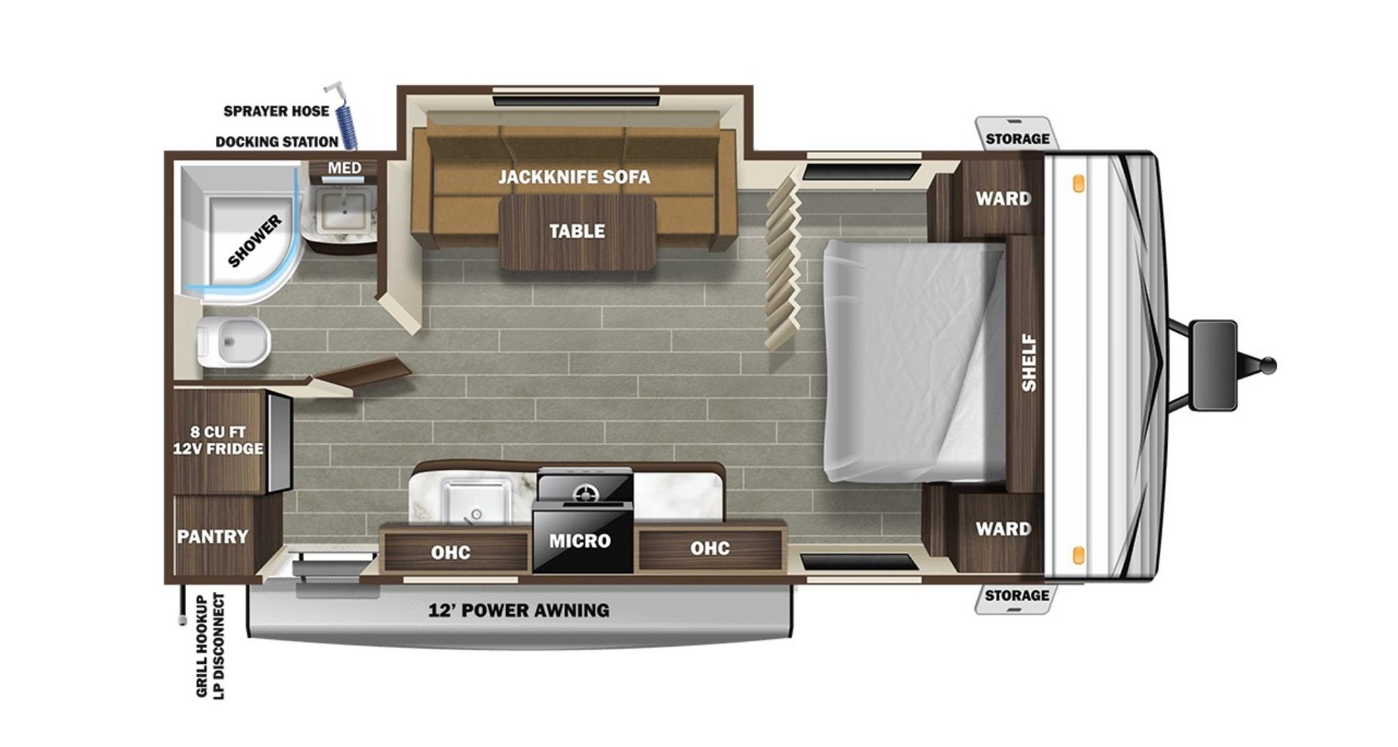 View Floor Plan for 2021 STARCRAFT AUTUMN RIDGE 20FBS