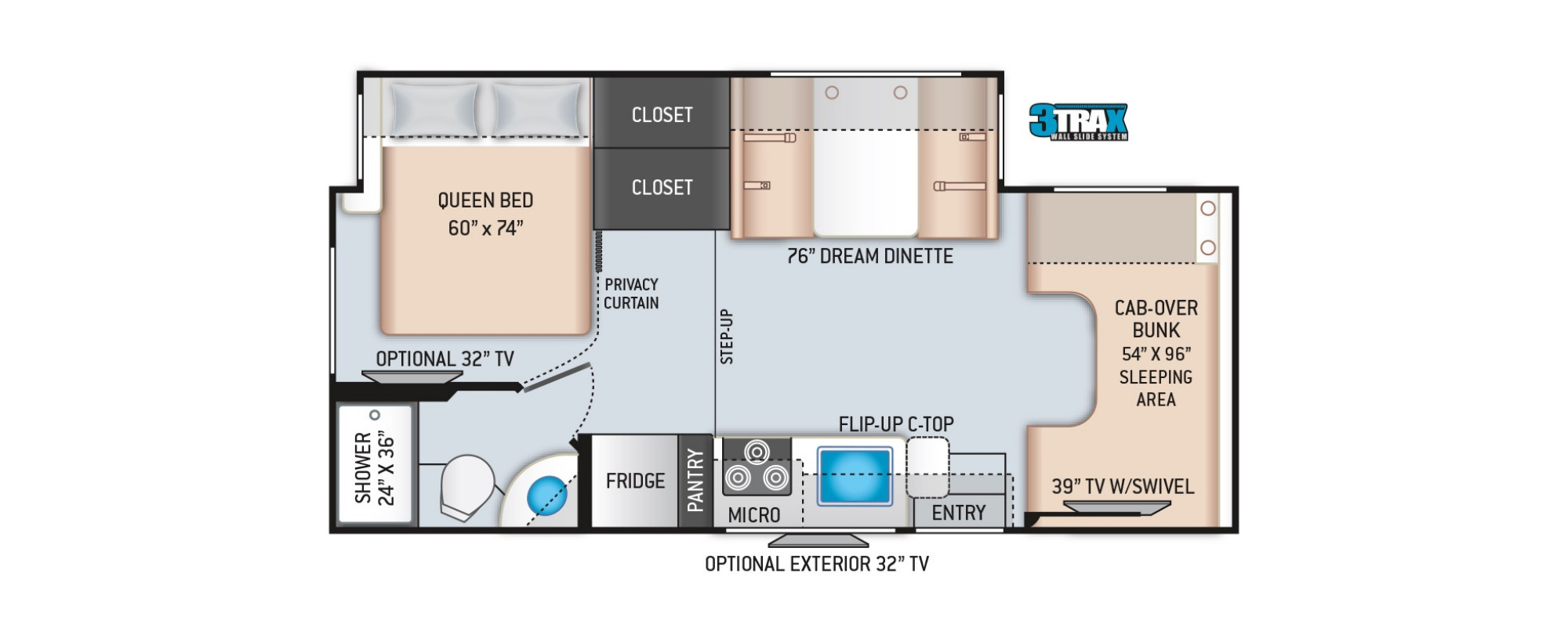 View Floor Plan for 2022 THOR FOUR WINDS 24F