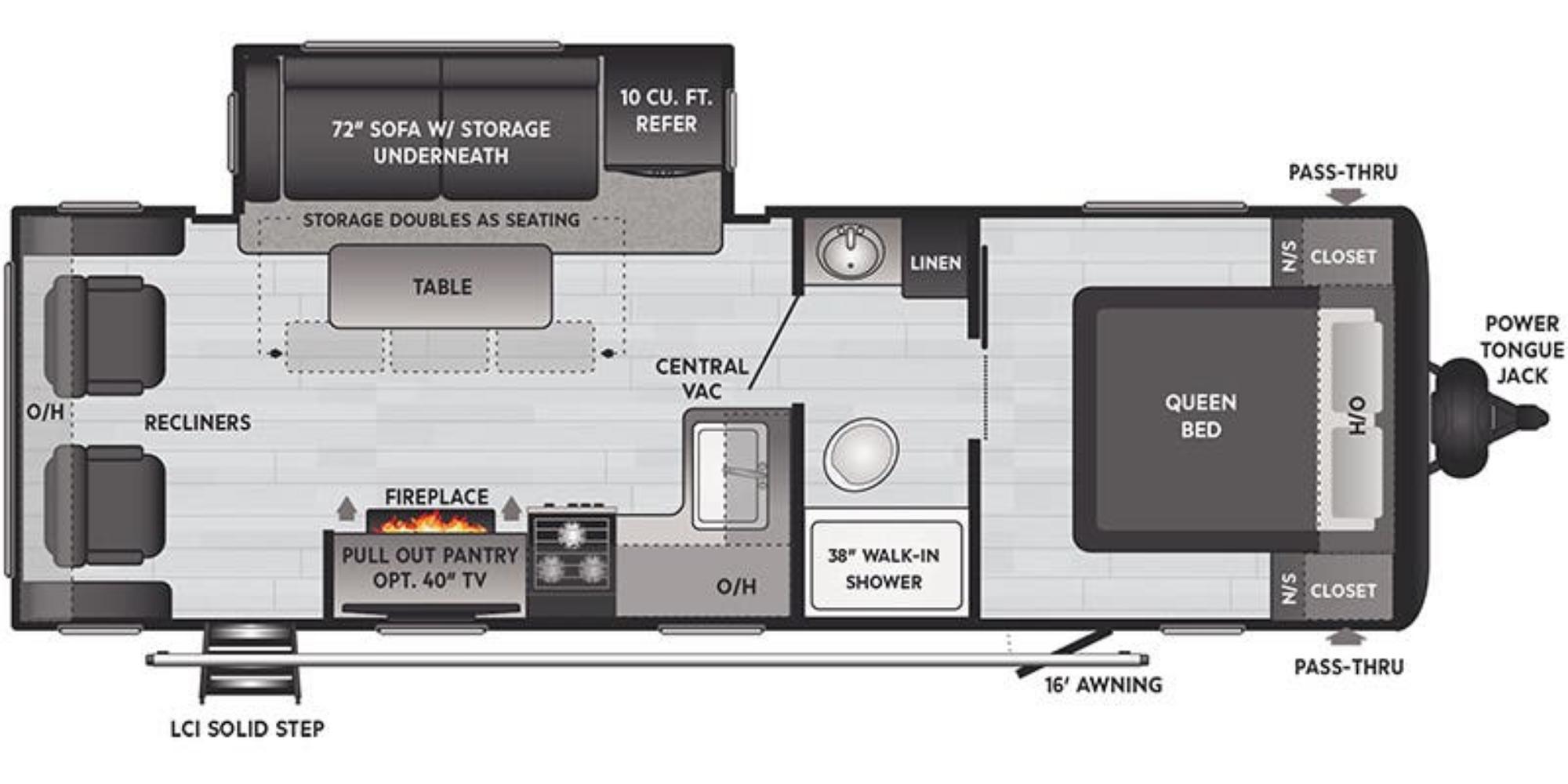 View Floor Plan for 2021 KEYSTONE HIDEOUT 25RLWE