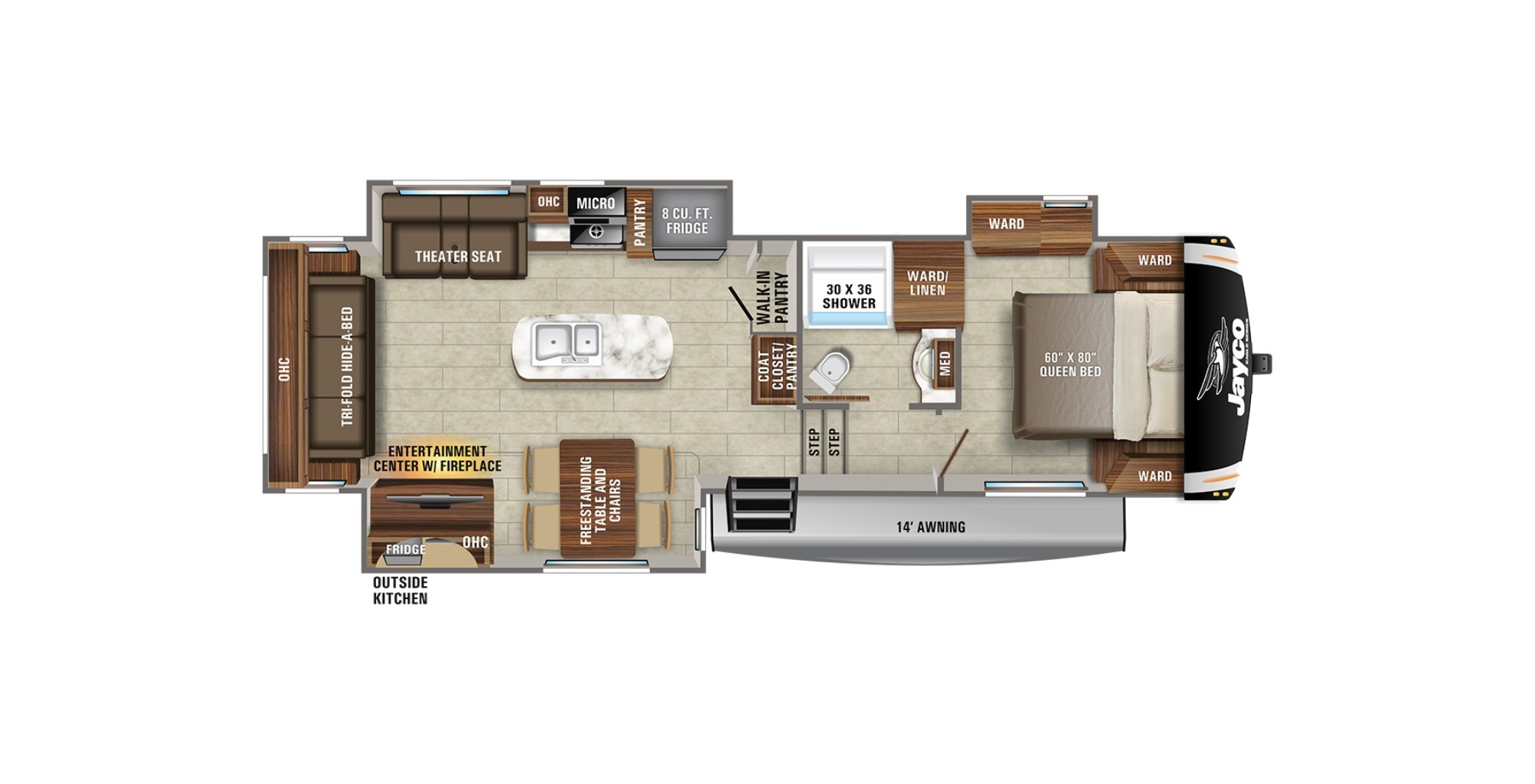 View Floor Plan for 2021 JAYCO EAGLE HT 30.5RSOK