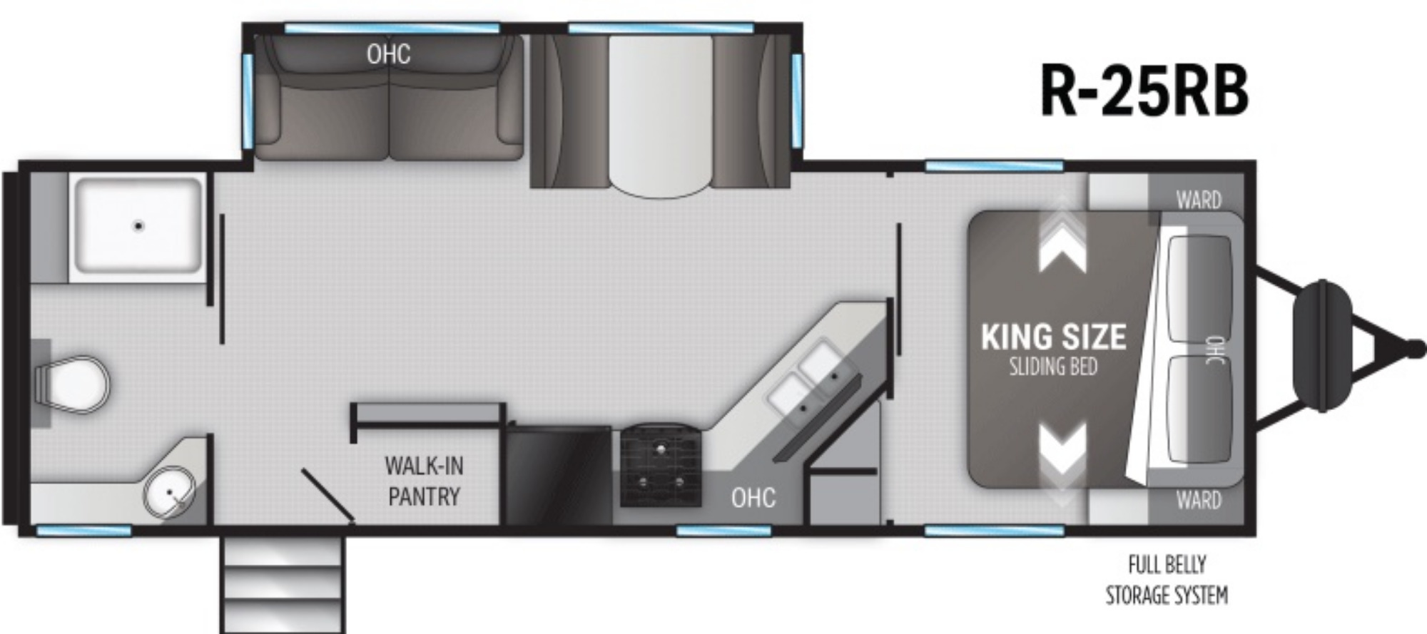 View Floor Plan for 2022 CRUISER RV RADIANCE 25RB