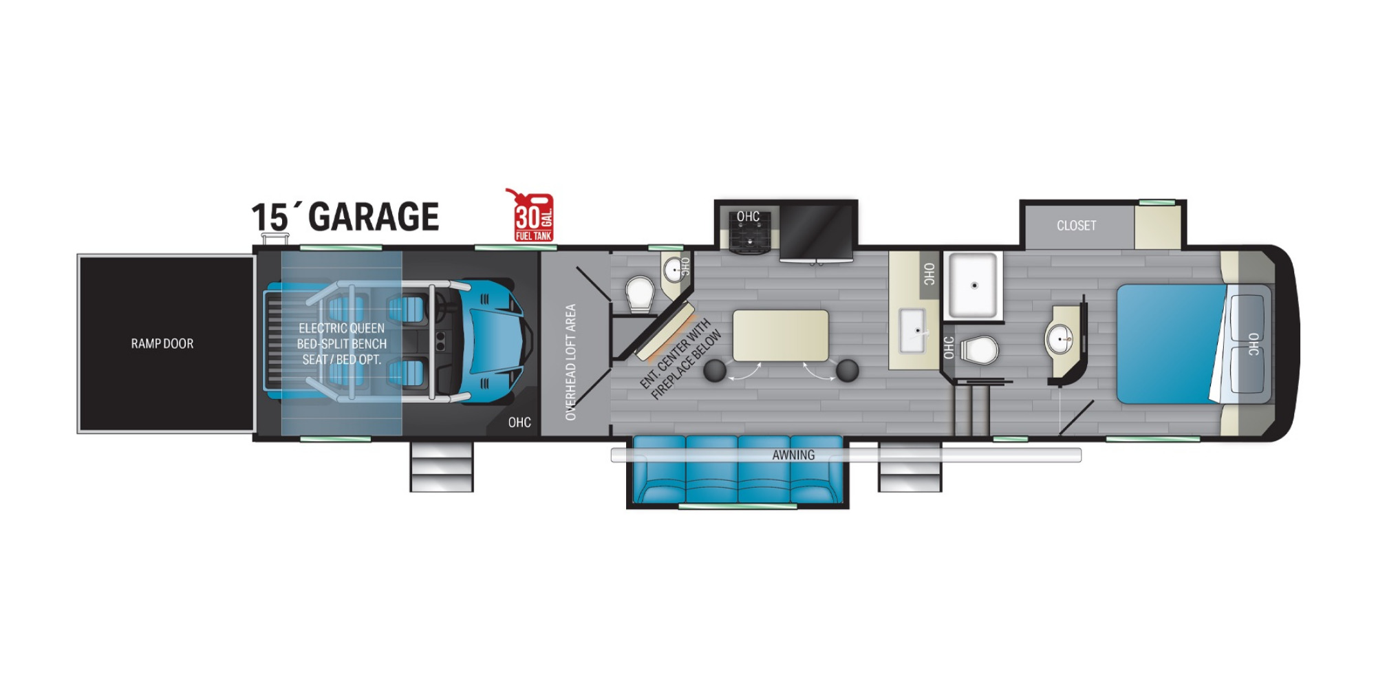 View Floor Plan for 2021 HEARTLAND ROAD WARRIOR 3965RW