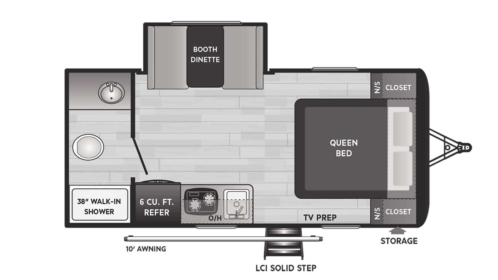 View Floor Plan for 2022 KEYSTONE HIDEOUT 179RB