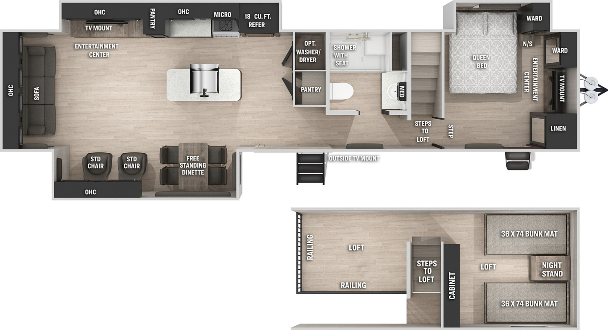 View Floor Plan for 2021 FOREST RIVER CHEROKEE BLACK LABEL 39DLBL