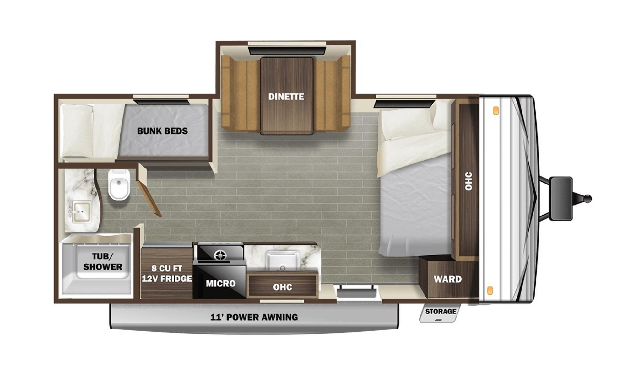 View Floor Plan for 2021 STARCRAFT AUTUMN RIDGE 180BHS