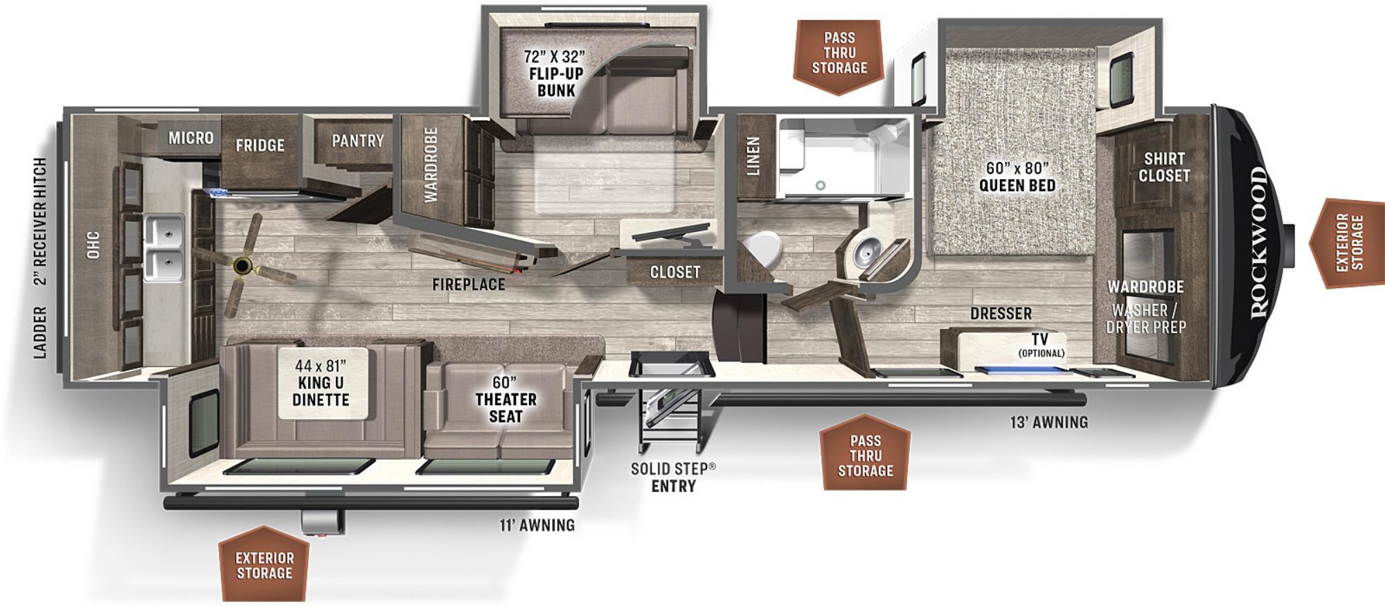 View Floor Plan for 2022 FOREST RIVER ROCKWOOD ULTRA LITE 2887MB